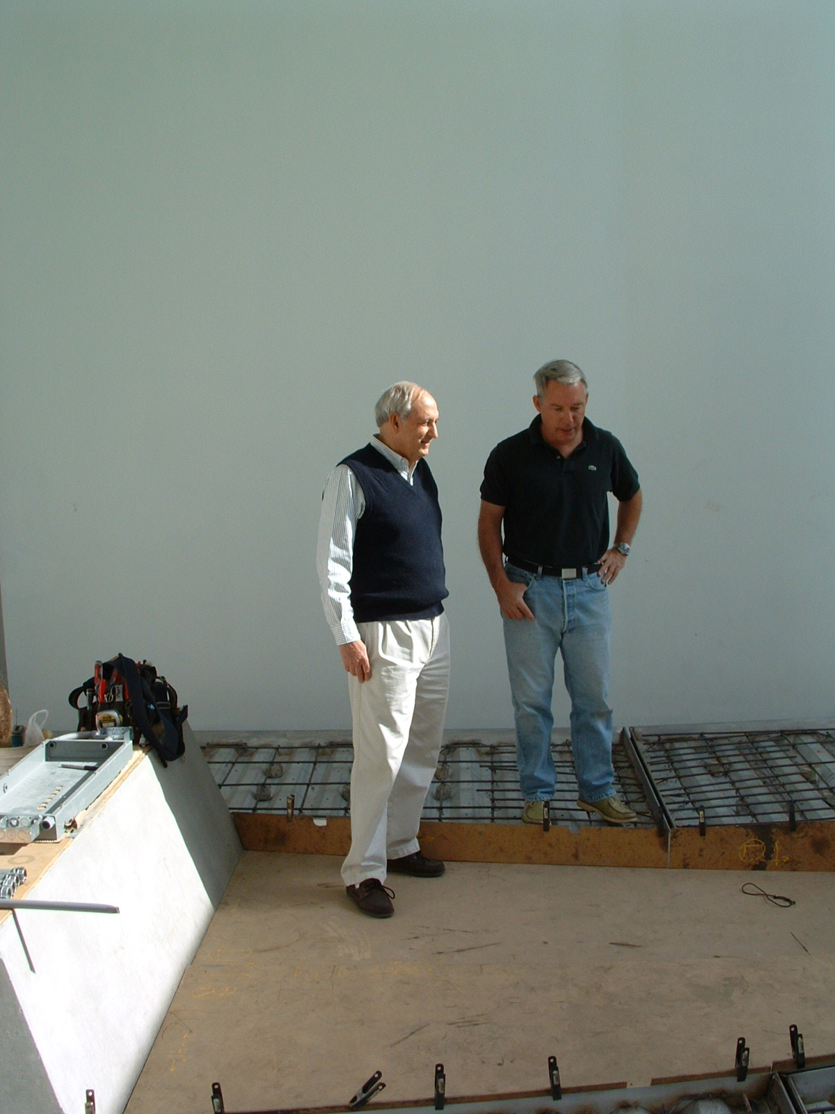 Structural Engineer Andrew Nasser with Architect Duncan Nicholson standing in the Turrell Syspace 'Above Horizon'