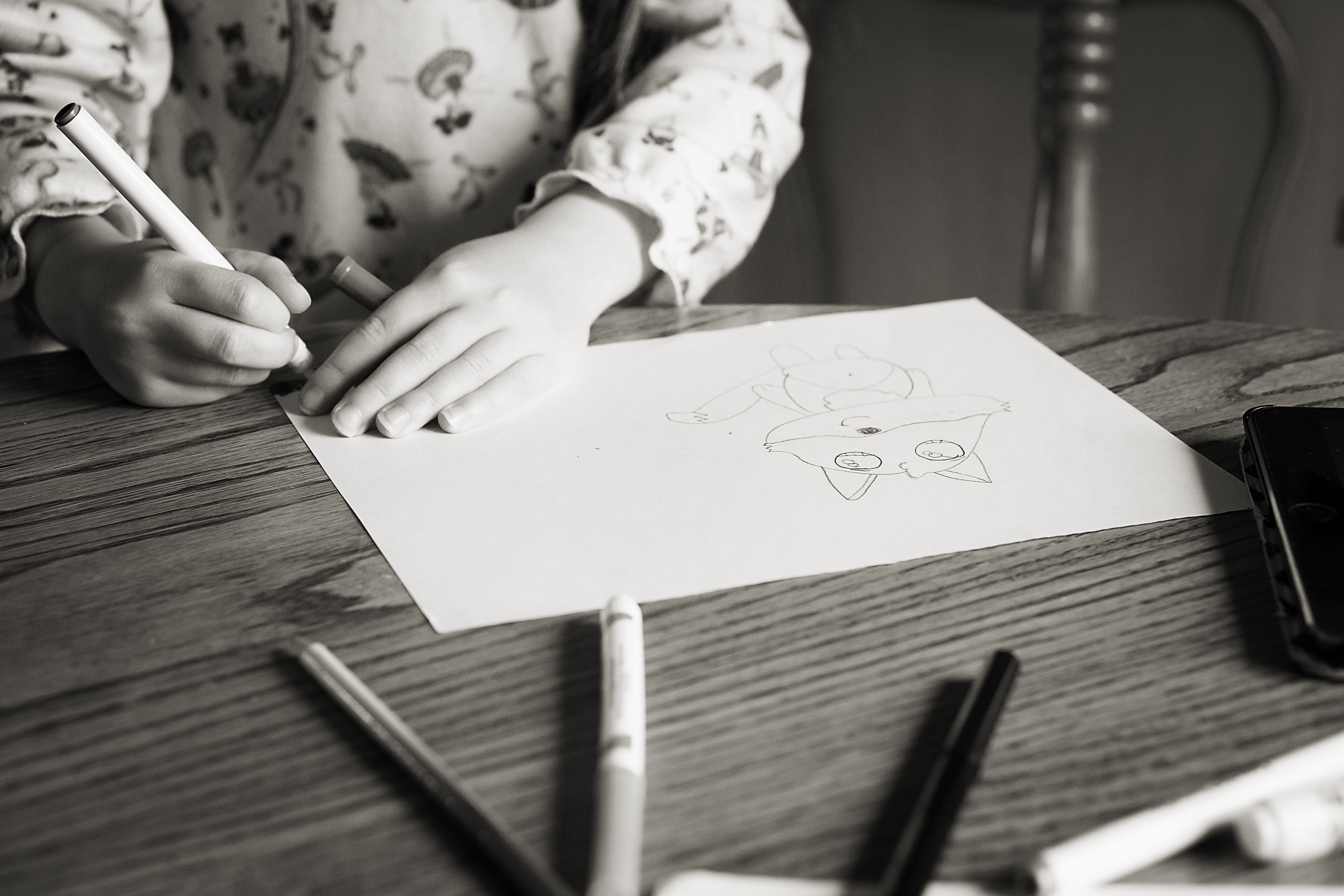 Columbus, Ohio photographer captures daughter drawing cartoon fox with markers and adding details in vintage Worthington home.
