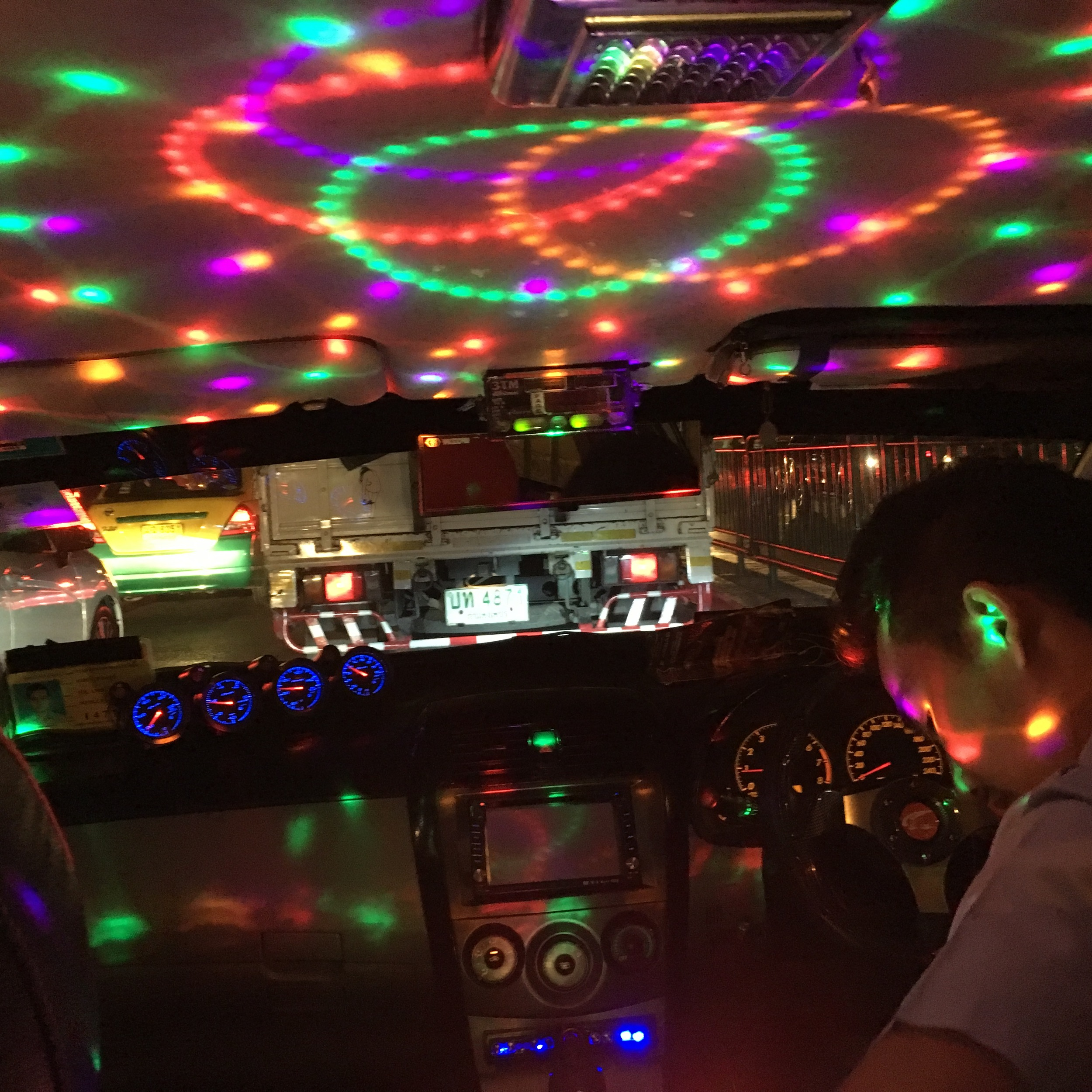 This was the inside of a taxi we took. Complete with disco lights, disco ball, and music turned up ALL the way. Man it was loud!
