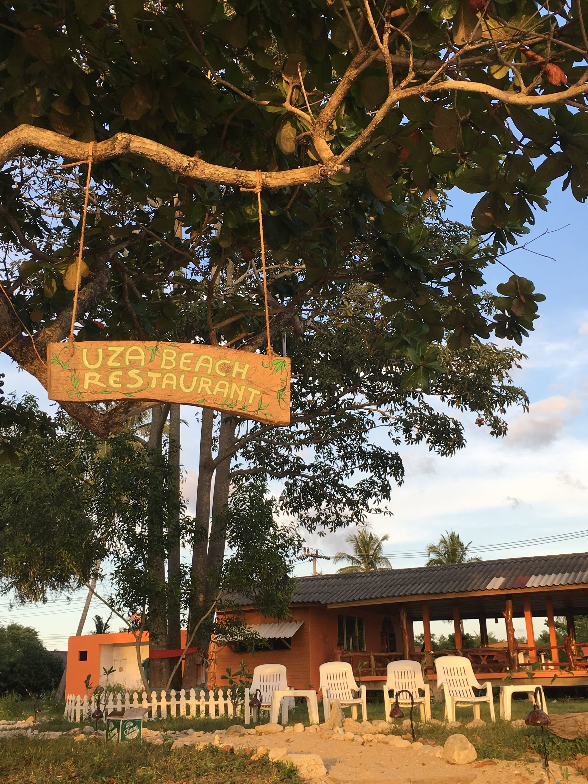 The hanging sign highlighting our restaurant.  This picture was taken from the beach.