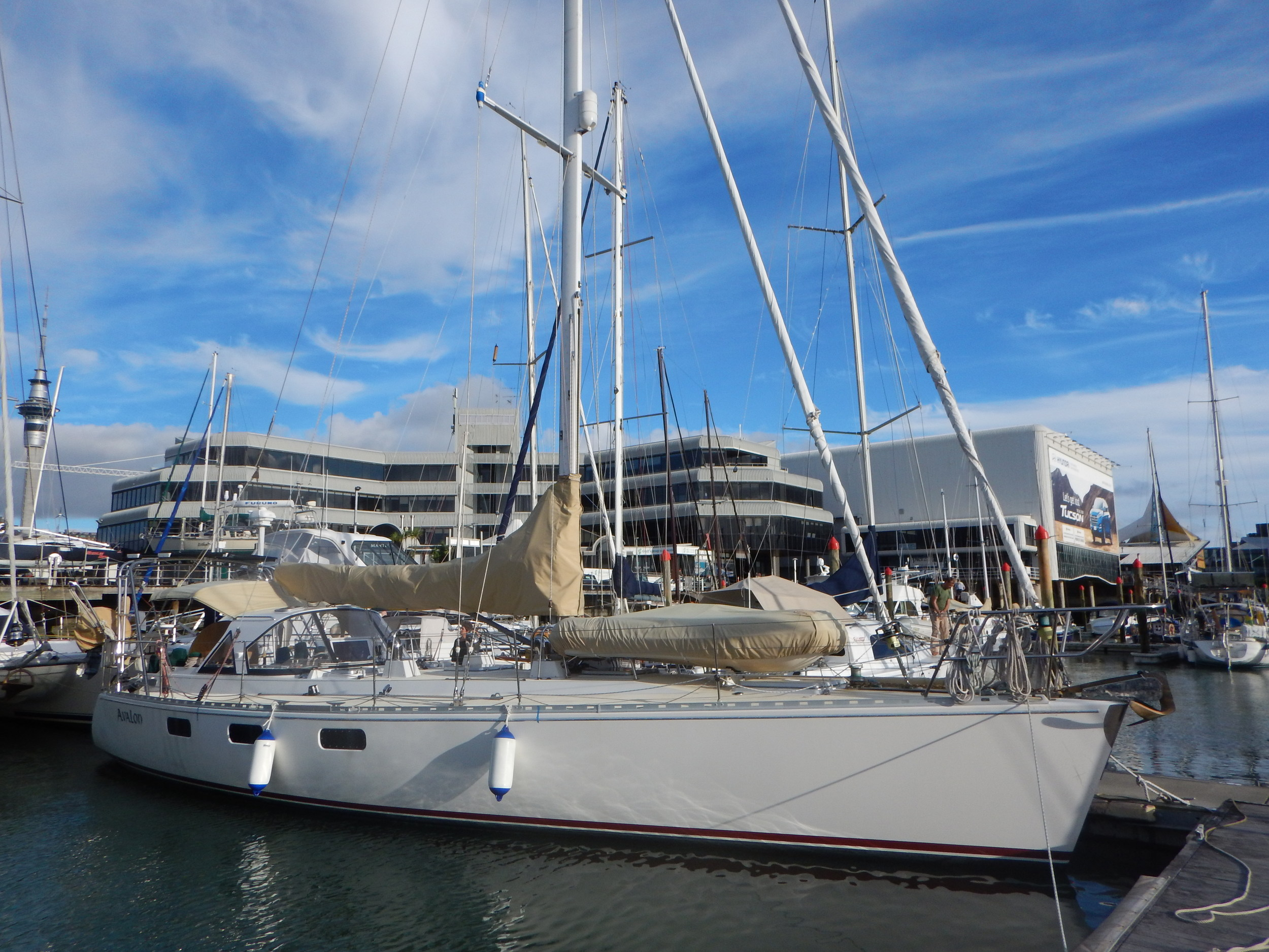 "Sailing vessel ""Avalon.""  A 50-foot Deerfoot that we'll sail 1,200 north to Fiji."