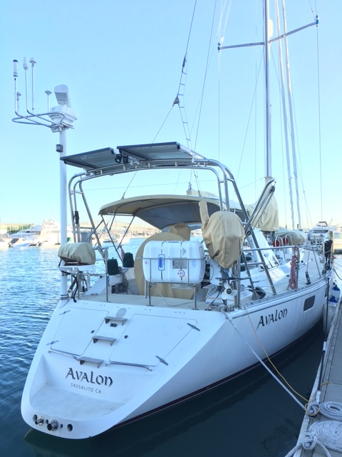 SV Avalon on the morning of departure, needing a couple of hours of set-up before we set sail.