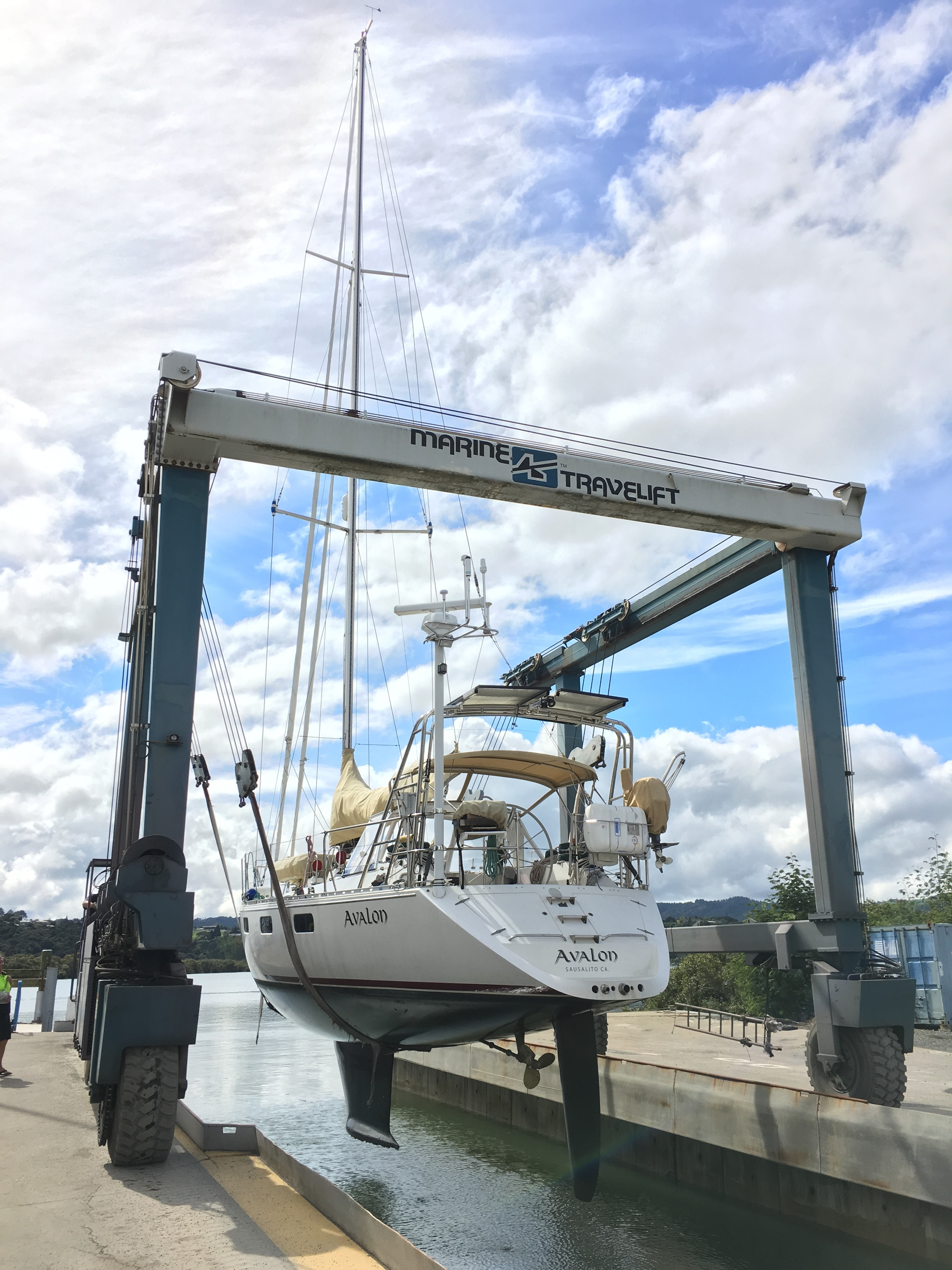 Hauled out of the water by a huge crane thing.