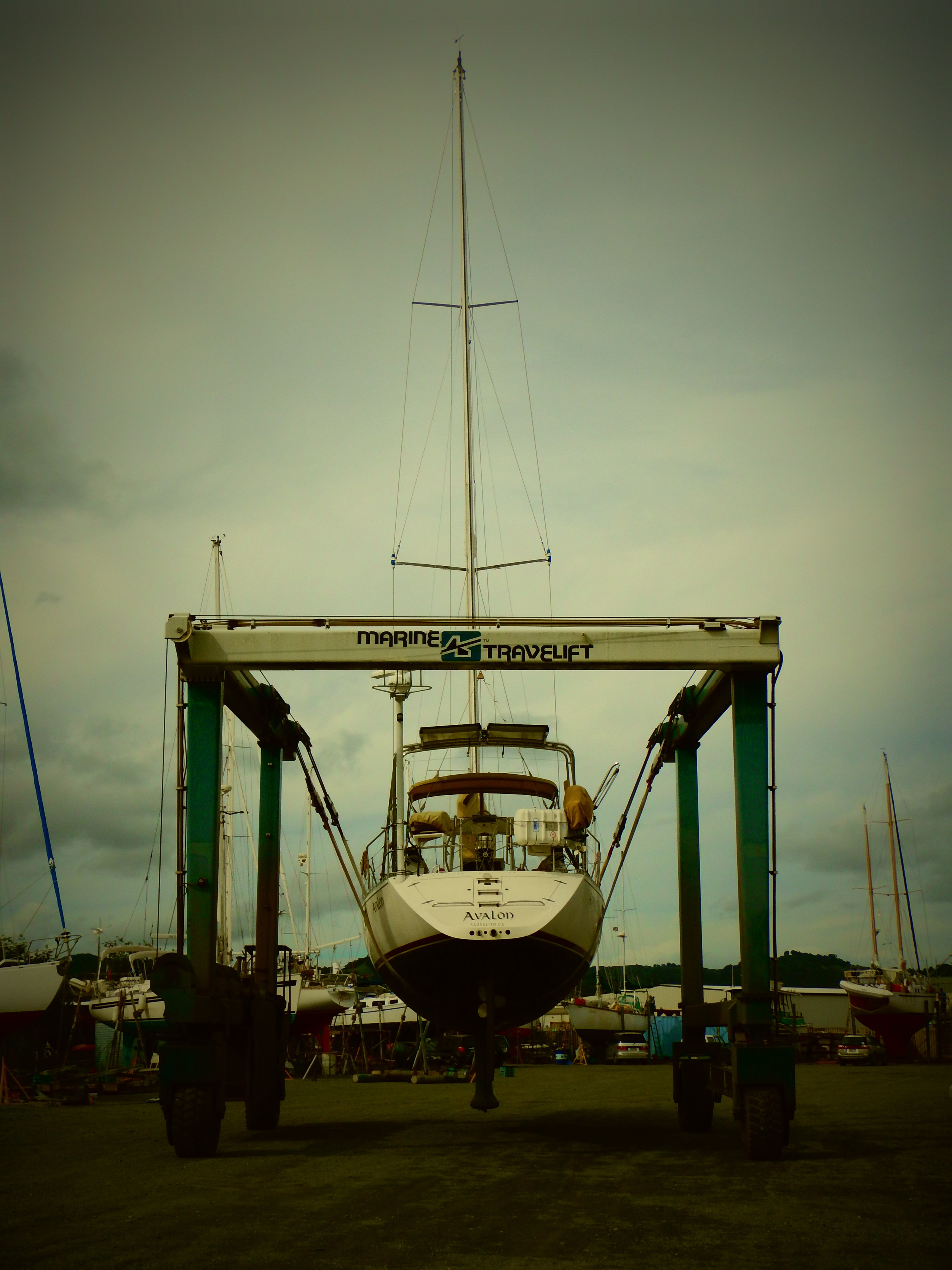 """Heading down the boatyard to our """"parking spot."""""""