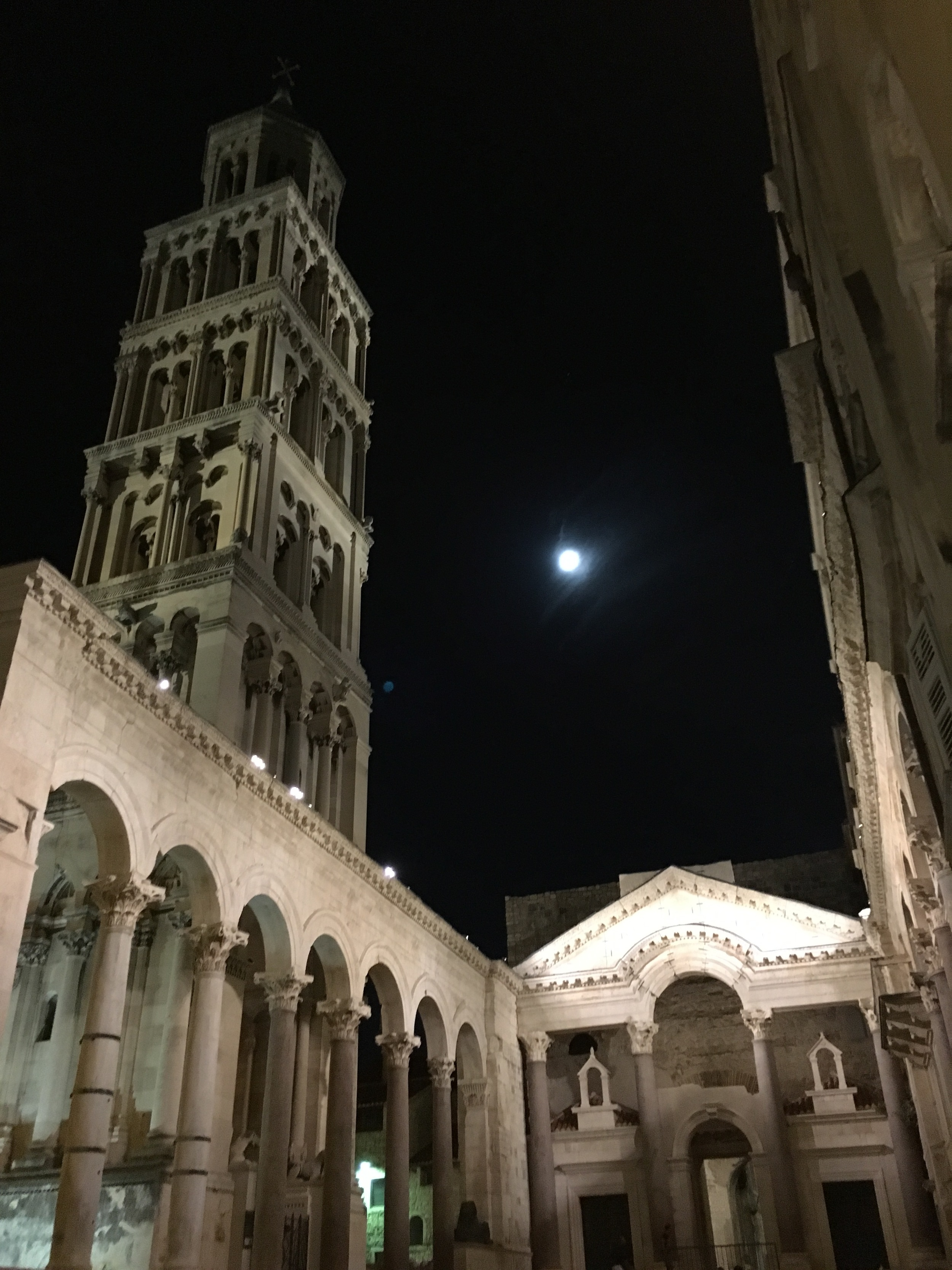The cathedral in the moonlight.