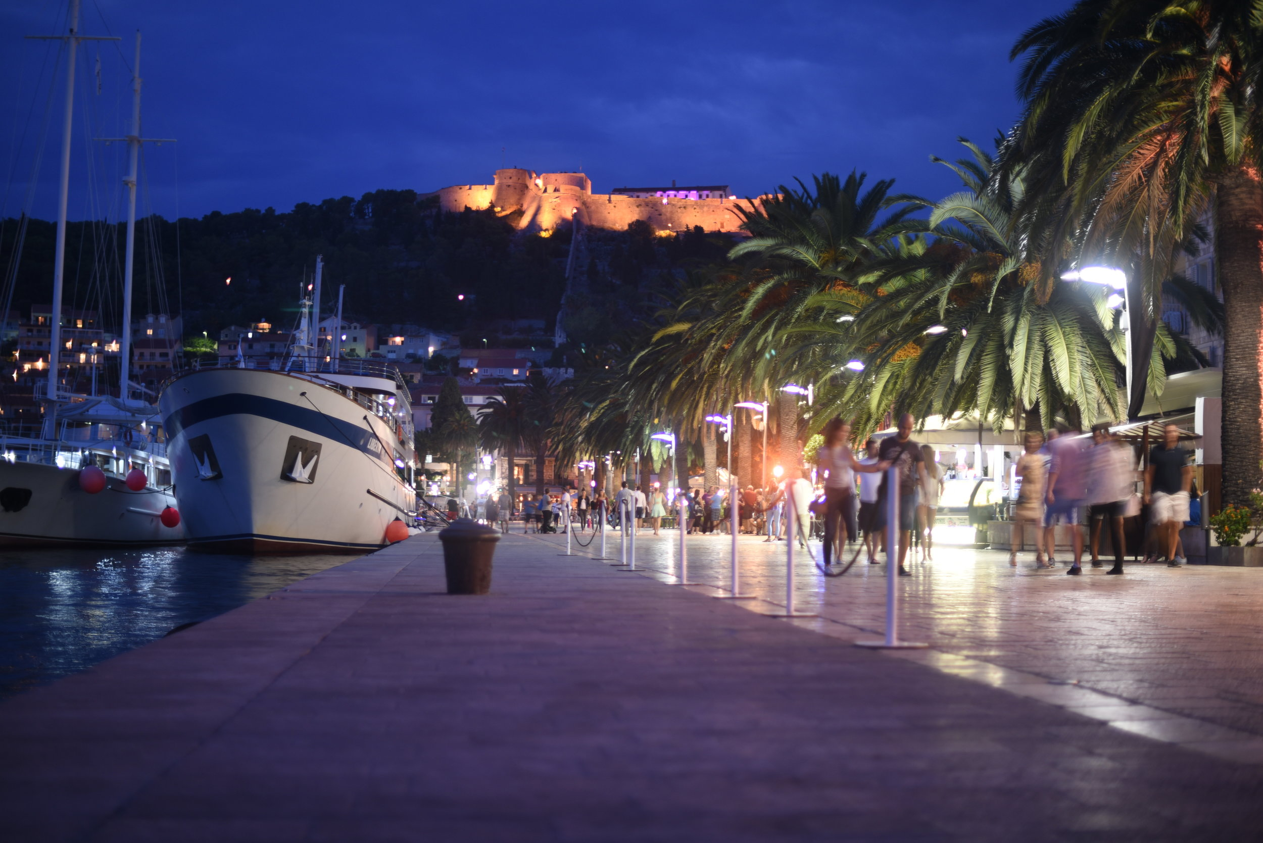 A stroll along the promenade in Hvar Town, admiring the super yachts alongside and the fortress above...