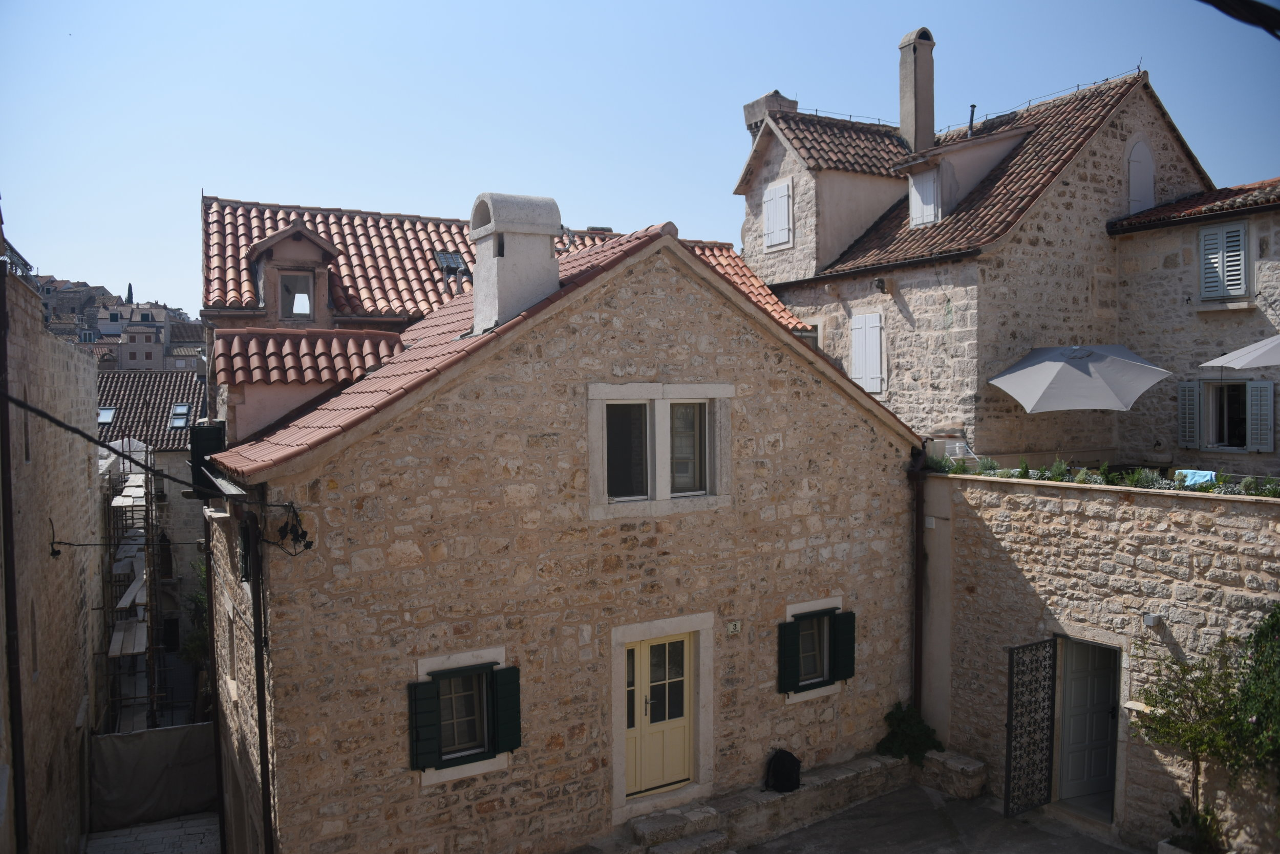 The view from my cozy apartment in a 15th century stone house just above the historic town of Hvar.  The host family has lived here for generations.  Amazing!