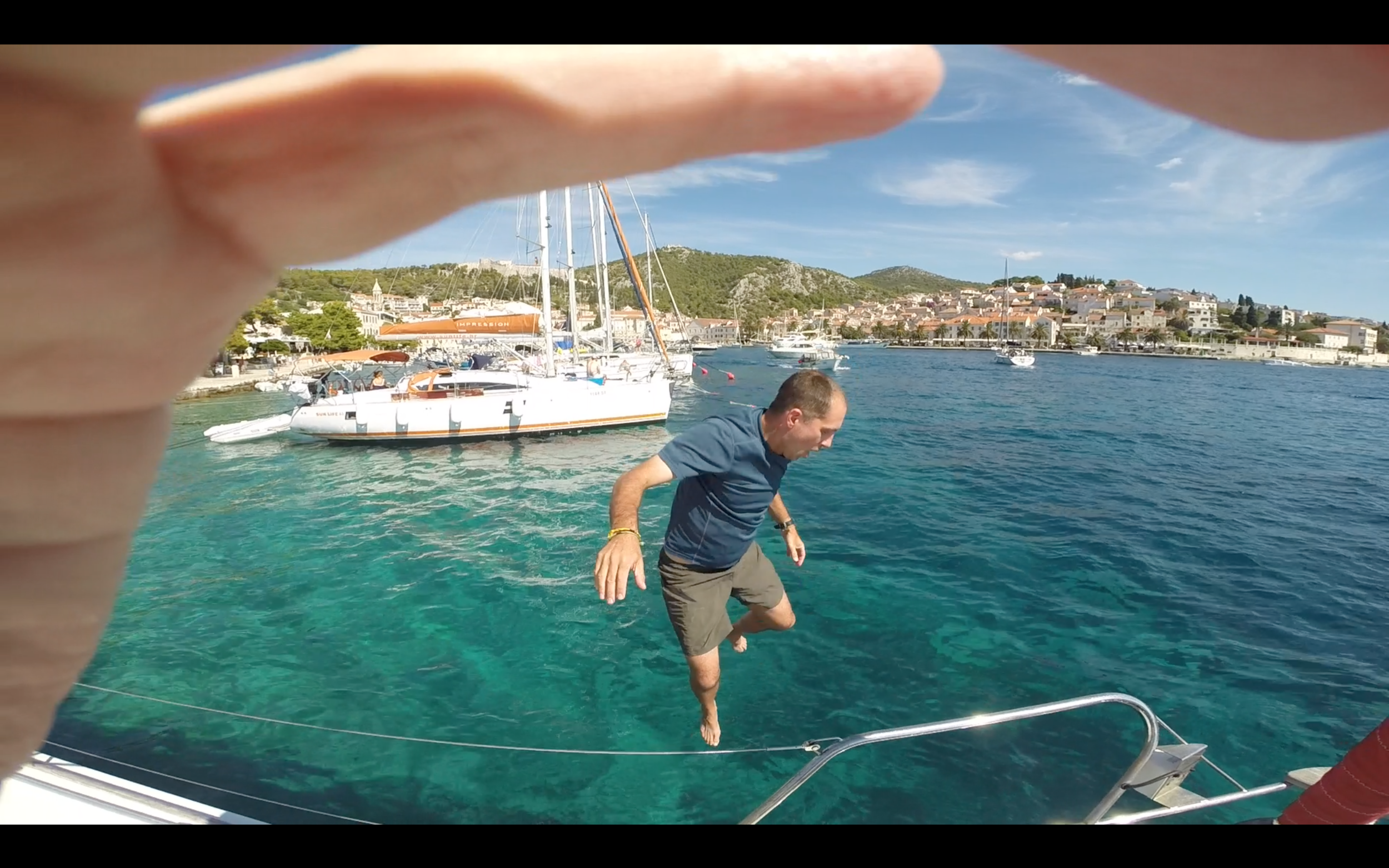 Jumping overboard at Hvar Town!