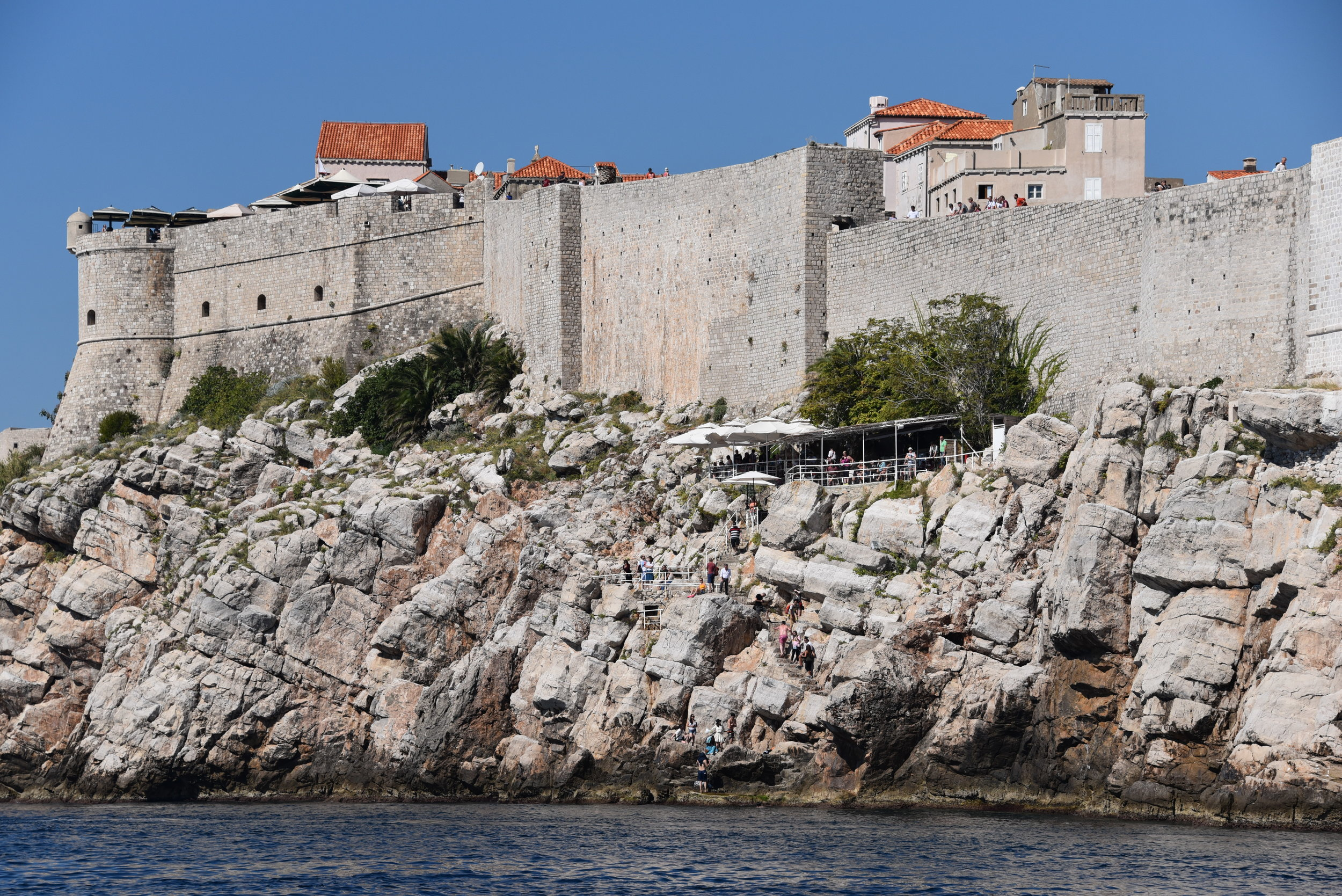 High walls on top of high cliffs... very intimidating from the sea.