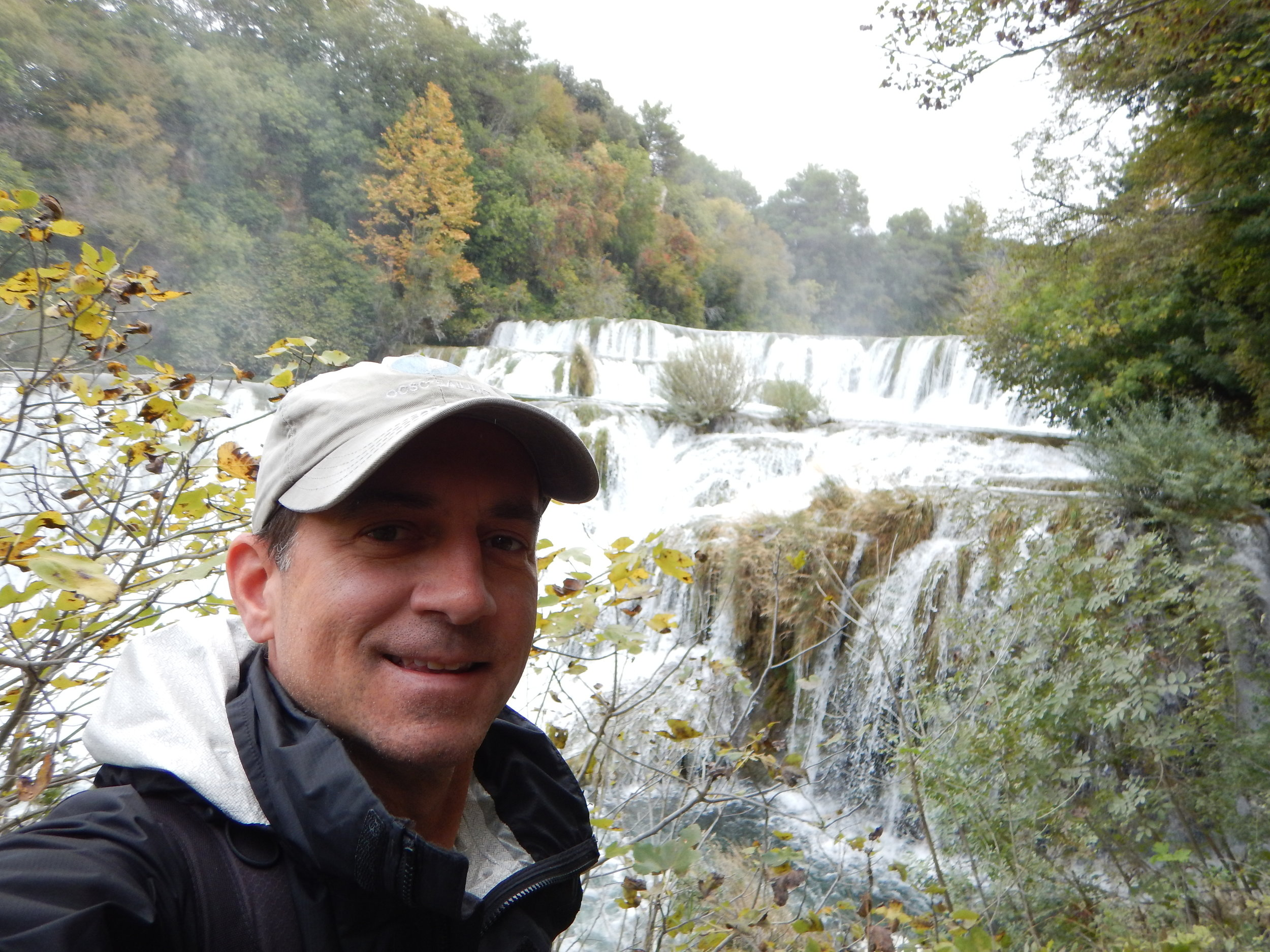 Hiking along the waterfalls in Krka National Park, about 30 minutes outside of Sibenik.