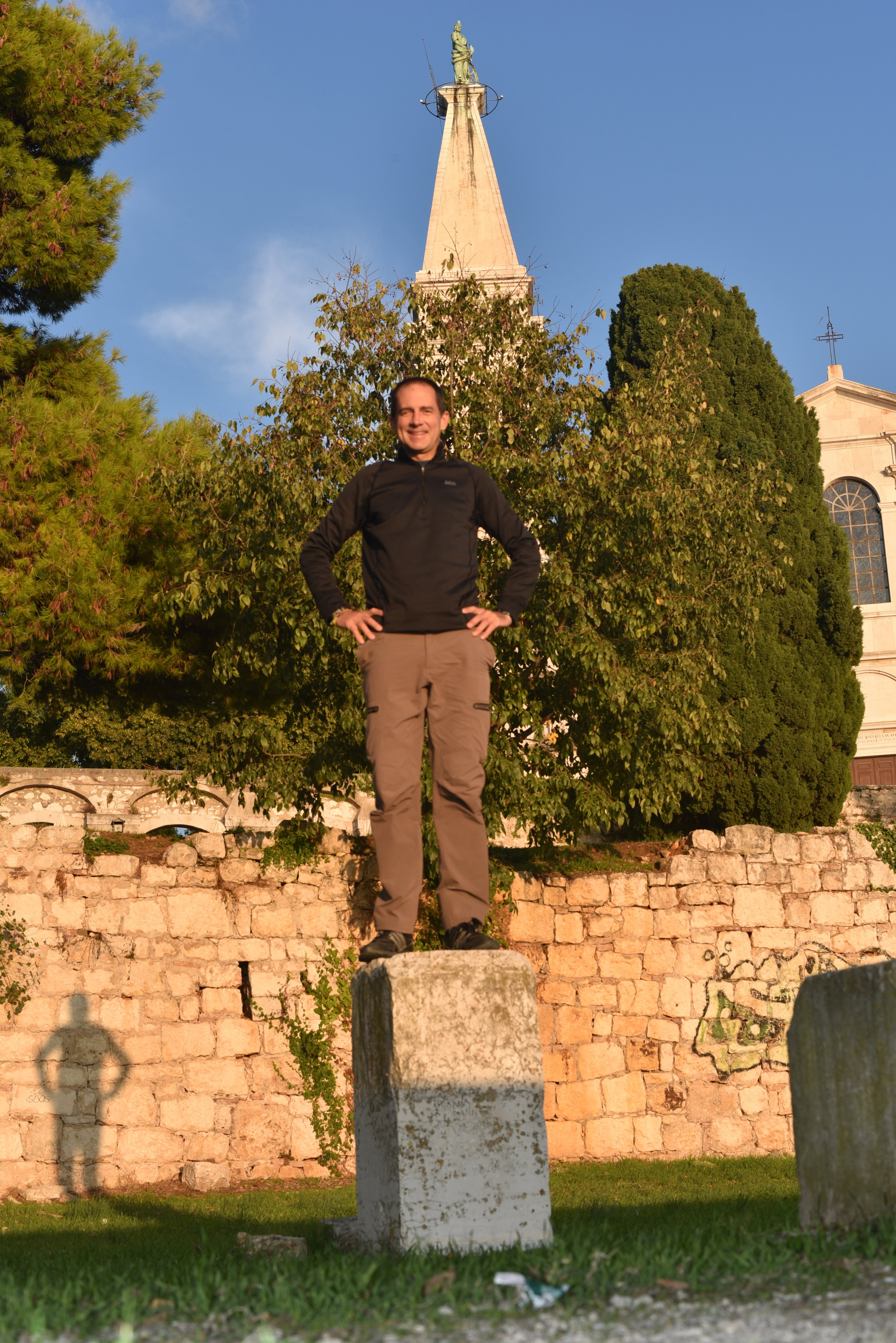 Goofing around with selfies at the Church of St. Euphemia in Rovinj.