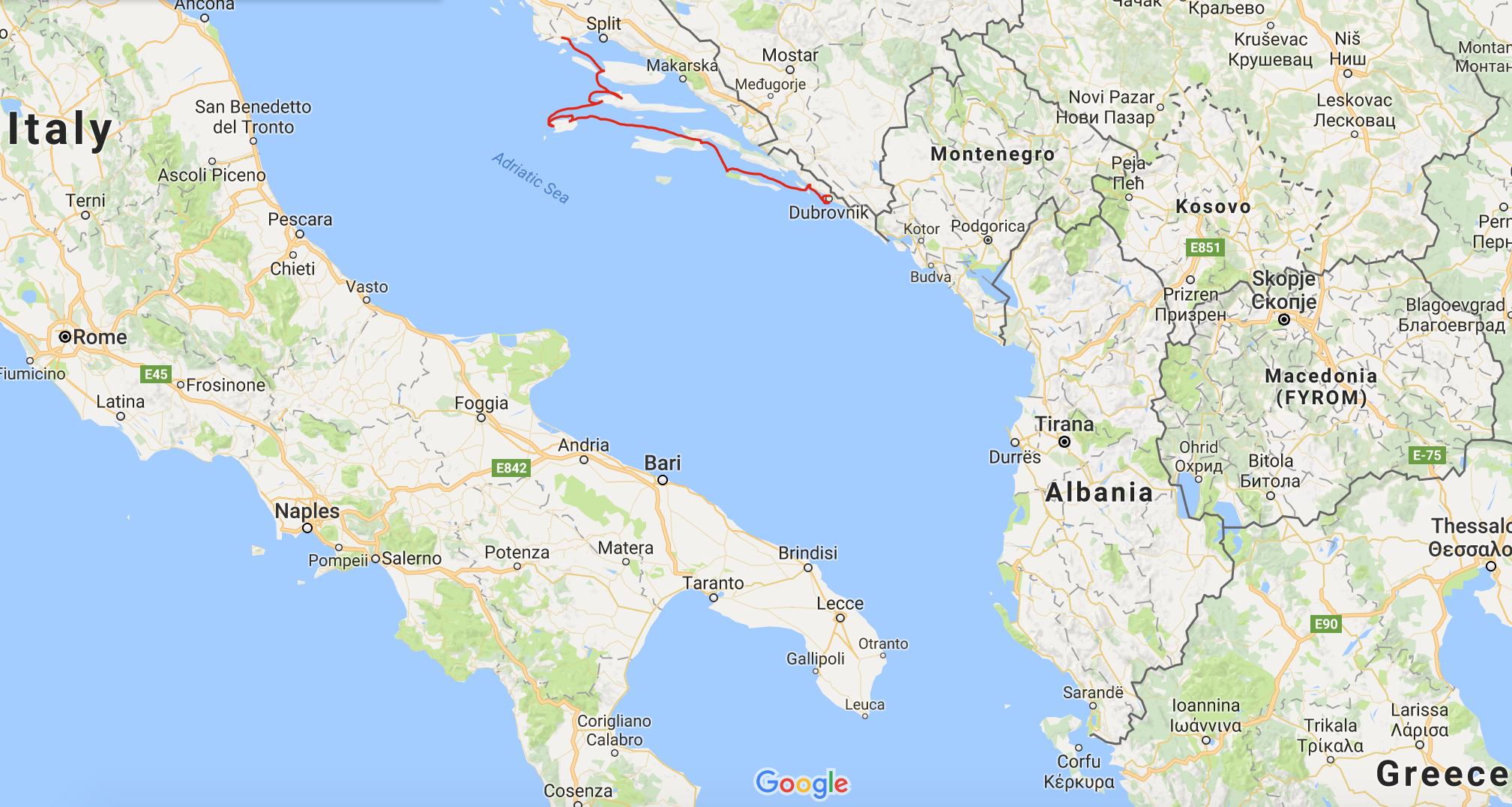 High level view of our sailing route (with geographical context of Italy and Greece).