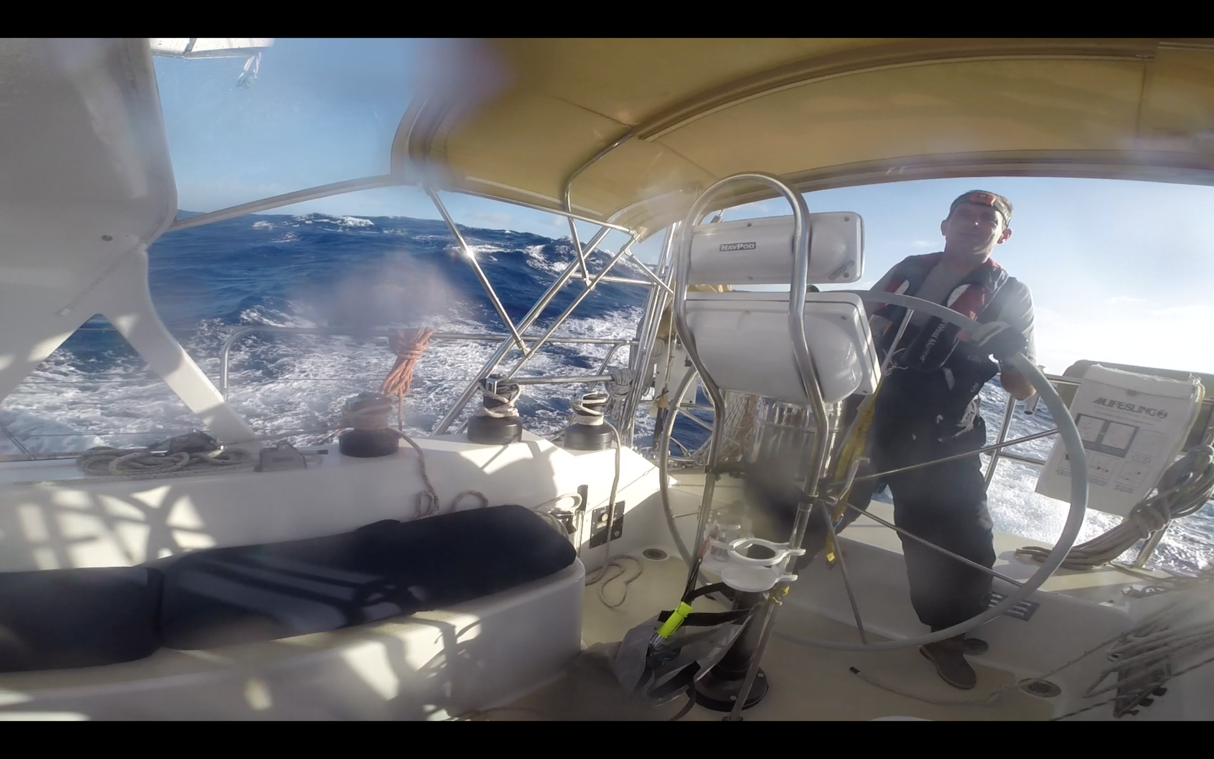 At the helm in high wind and big seas!