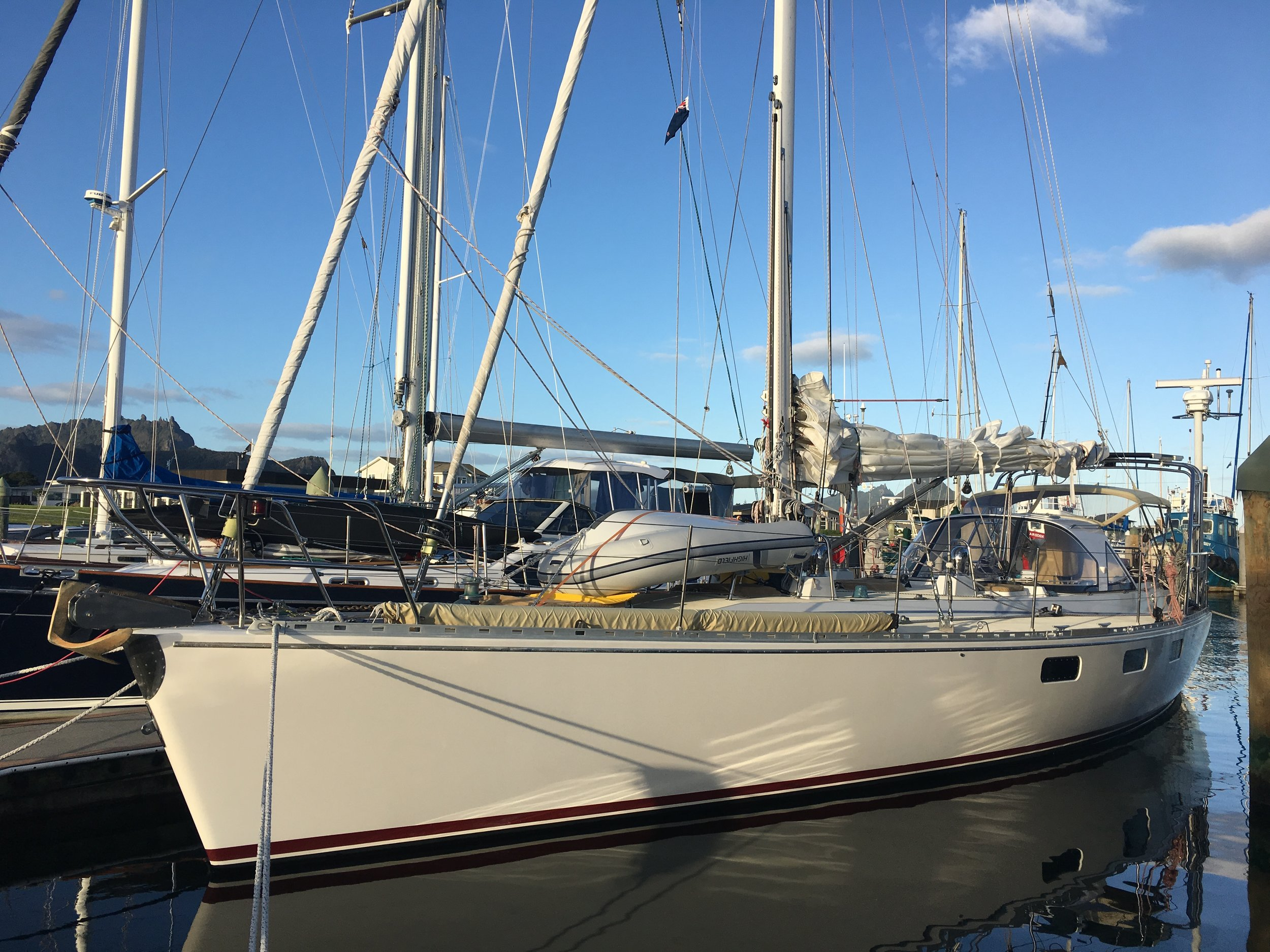 The sailing vessel Avalon. She's a beauty! And fast!