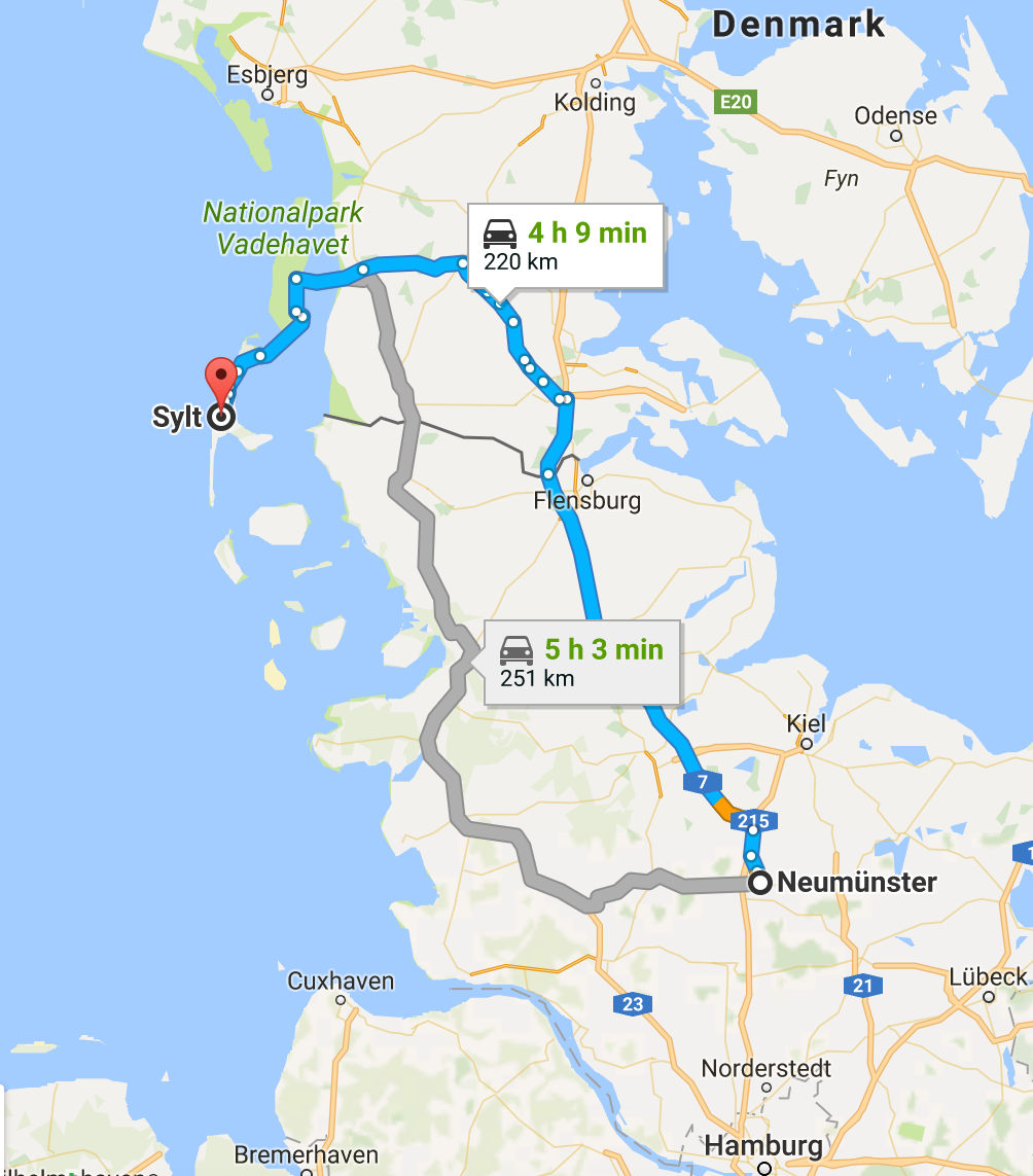 From Neumunster, we drove to the island of Sylt. The last bit of the journey included driving our car onto the train, which then carried us over to the island. See larger picture below for more detail.