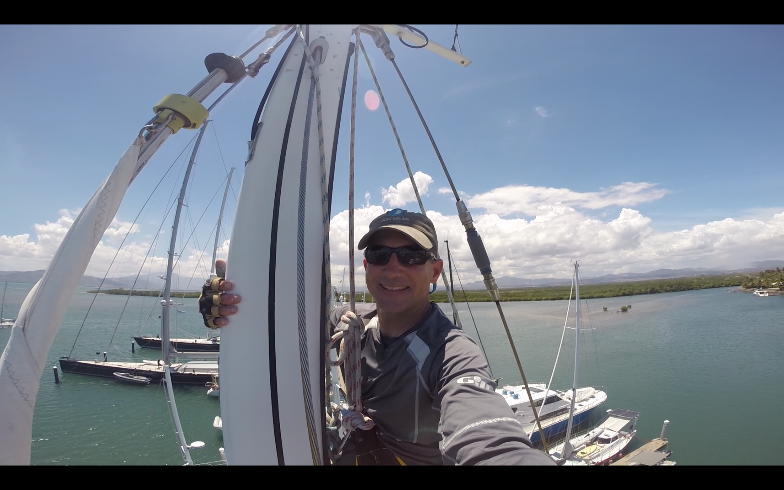 Up the mast! What a view!