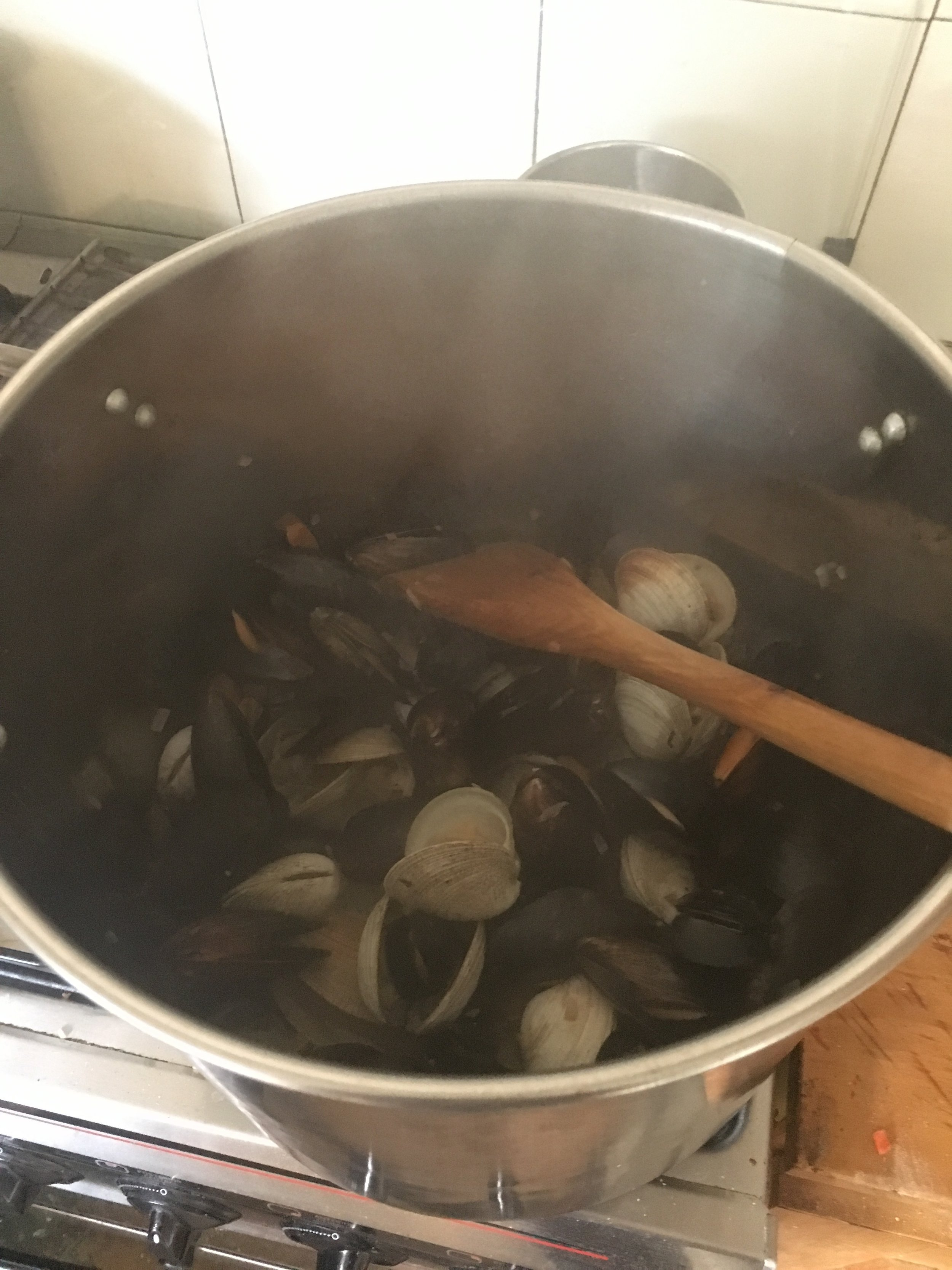 Preparing seafood pasta for New Year's Eve!