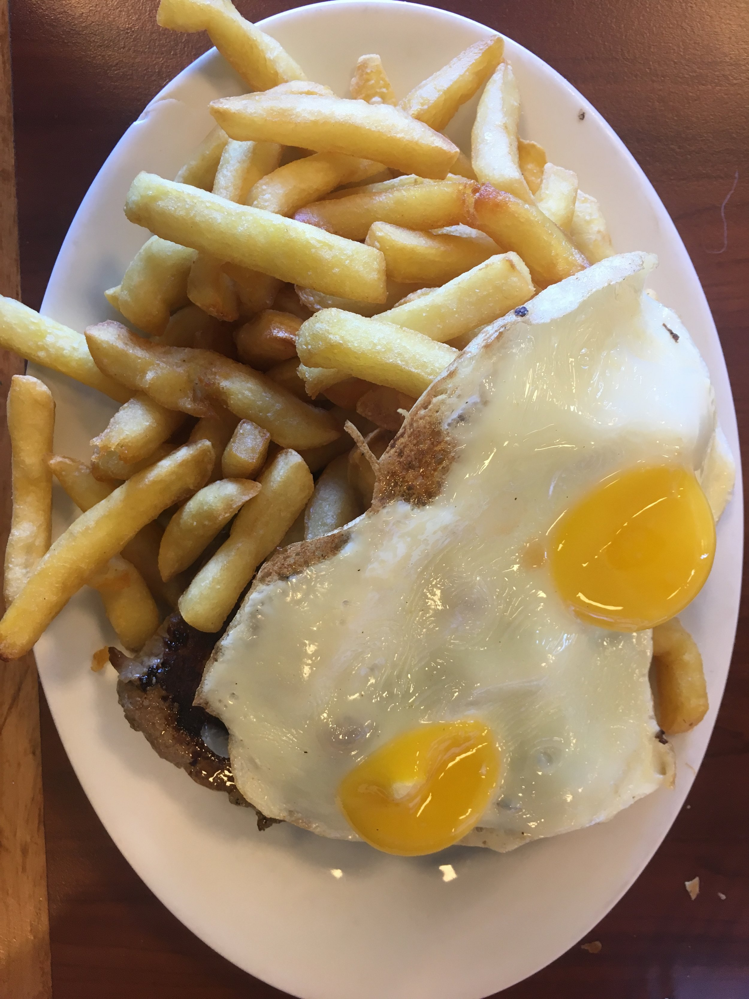 Lomo a lo Pobre (steak, eggs, fries).  Yes, I ate it all.
