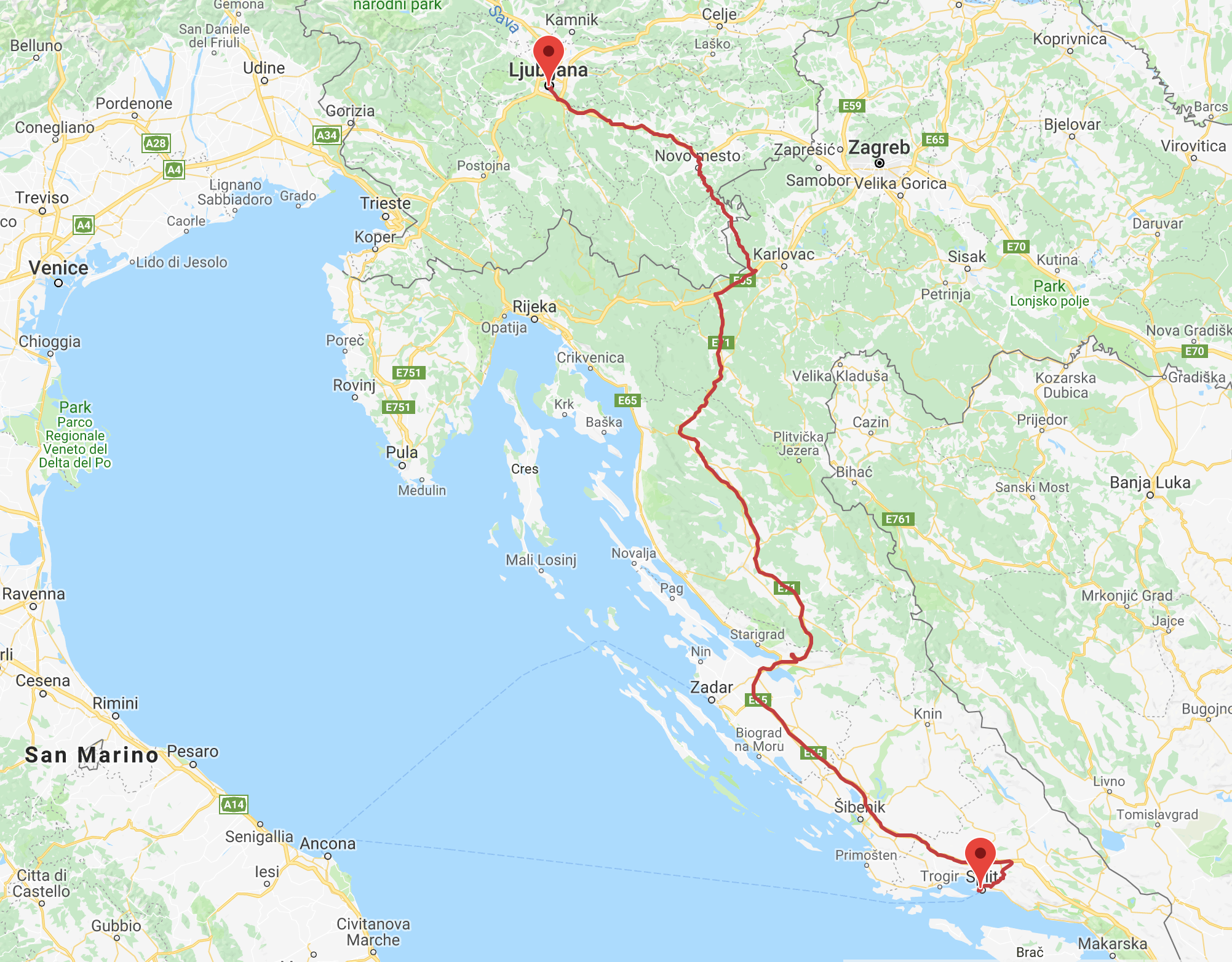 Although this map doesn't show it, I did spend the night in Zadar to break up the long bus ride into two days, not one. Plus, I love Zadar! :-)