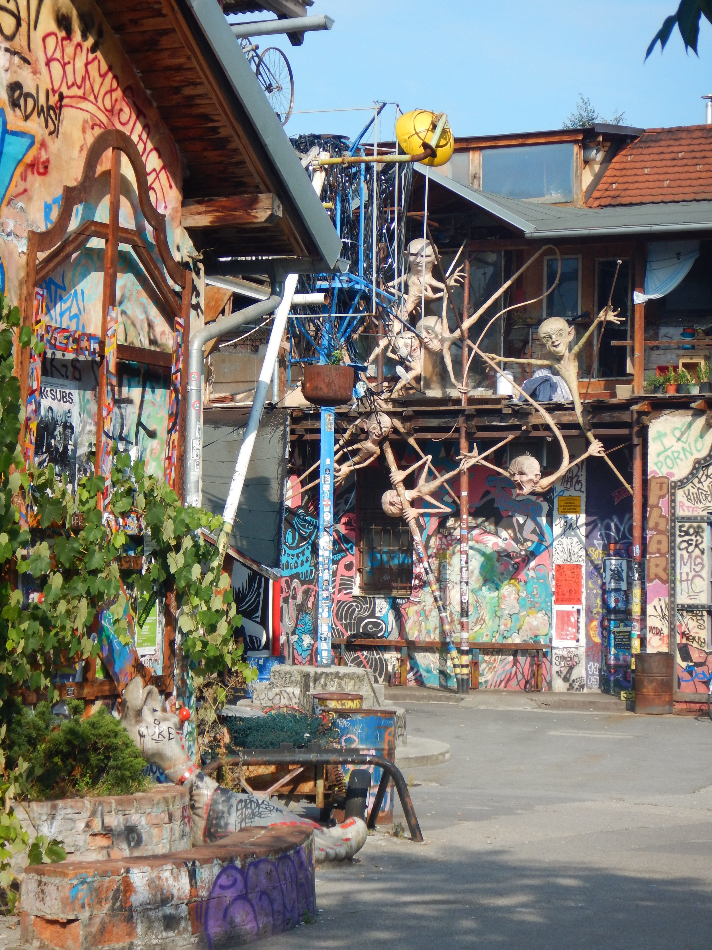 The artsy, alternative area known as Metelkova (in Ljubljana, Slovenia).