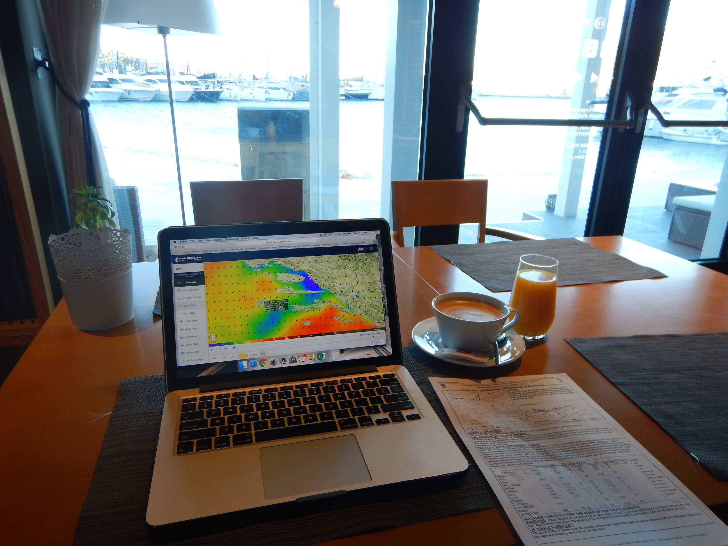 Checking the latest wind forecast on Predictwind.com