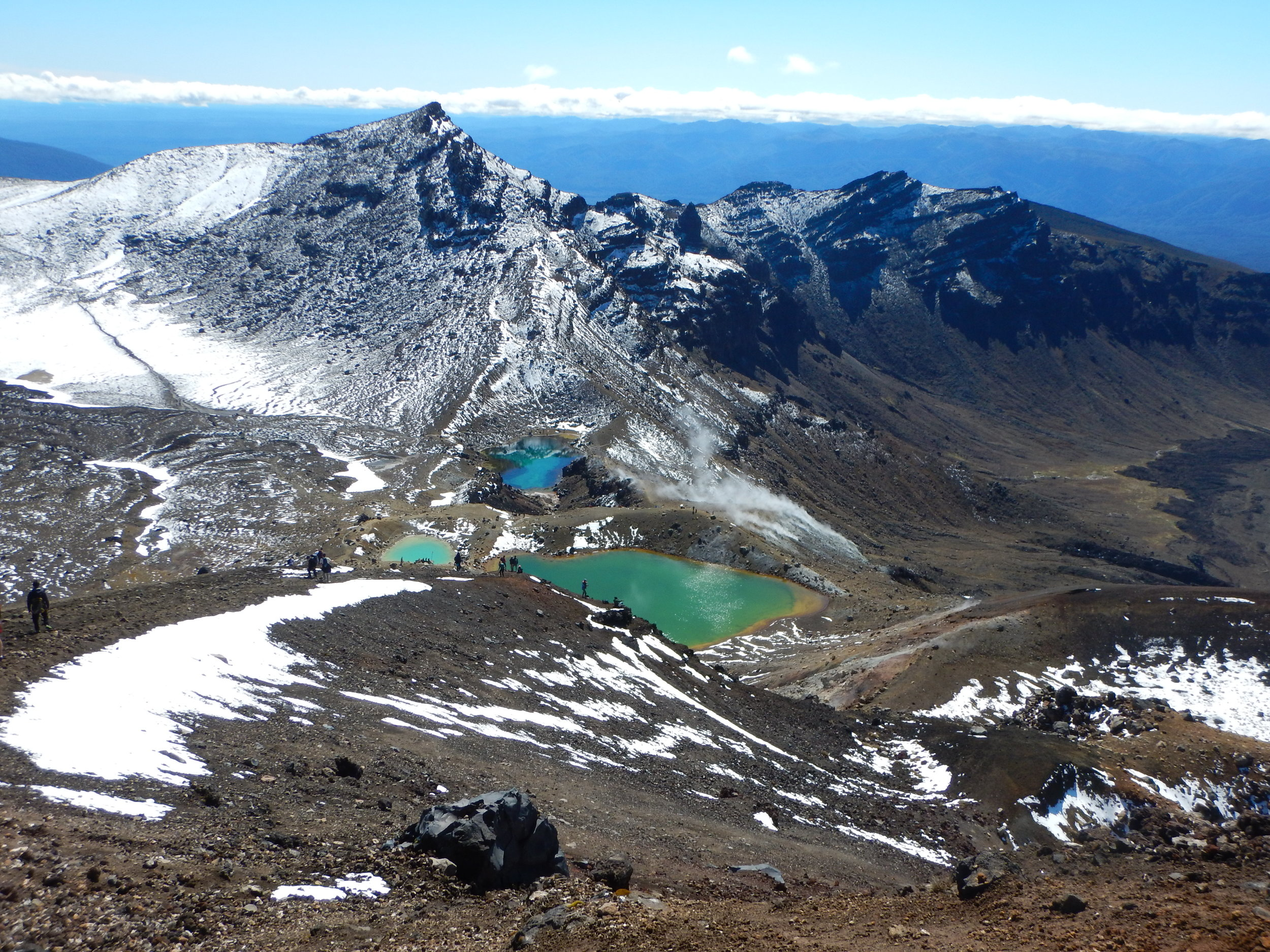 Looking down toward the Emerald Lakes, about the navigate the loose scree field descent!
