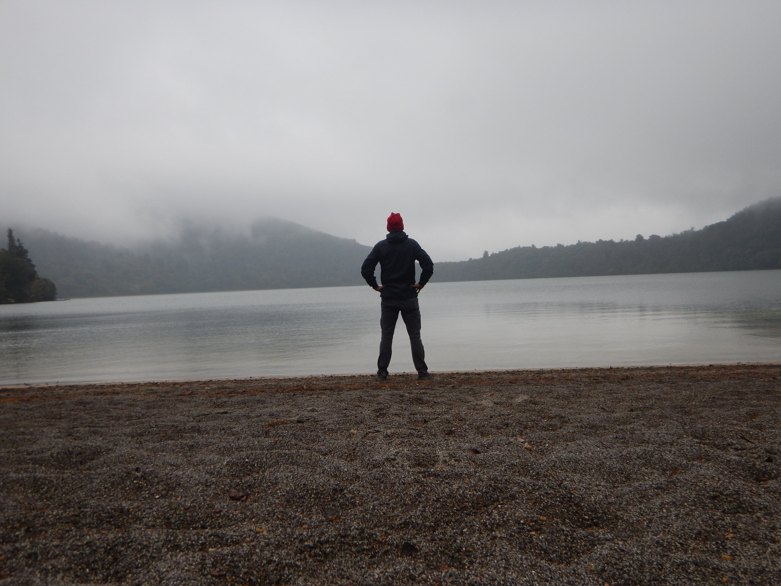 Stopping along the beach at Lake Rotopounamu to watch the fog roll in.