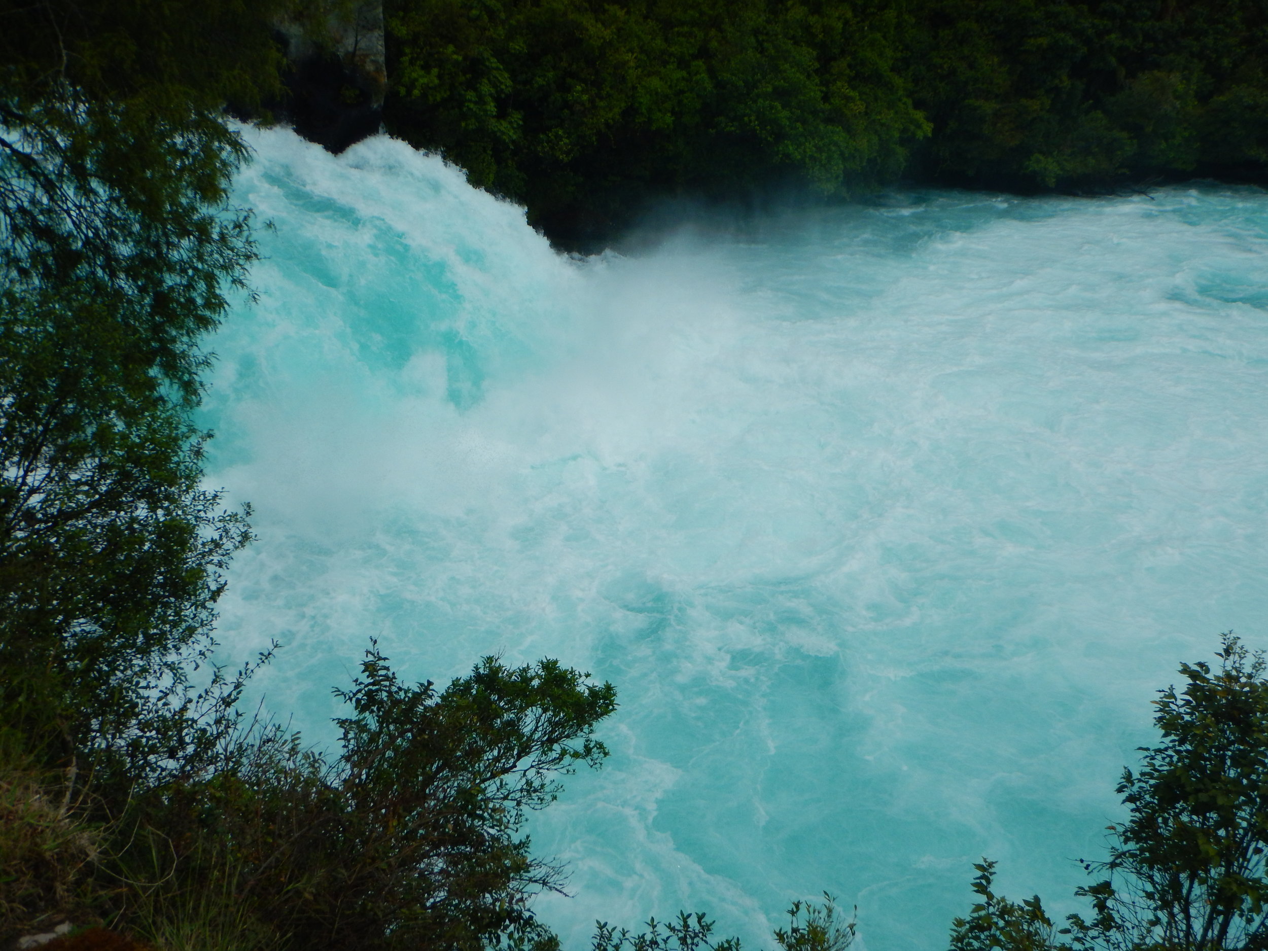 Huka Falls in action. Some crazy Kiwi kayakers have gone down the falls…on purpose!