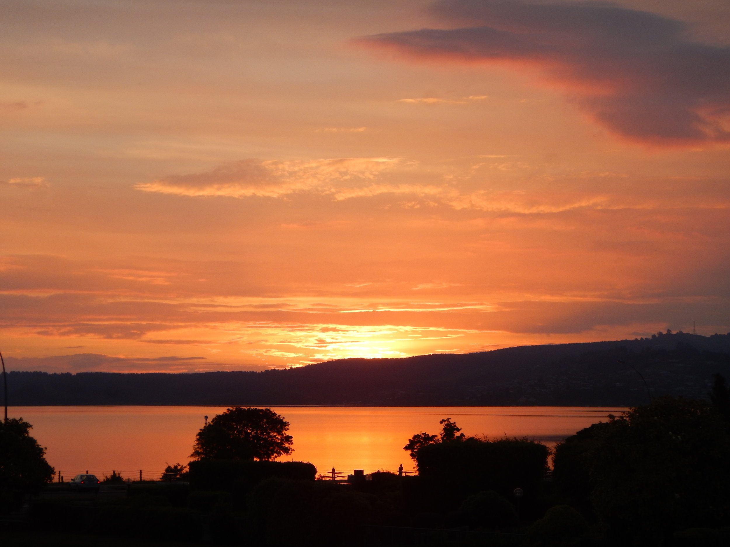 Sunset over Lake Taupo.