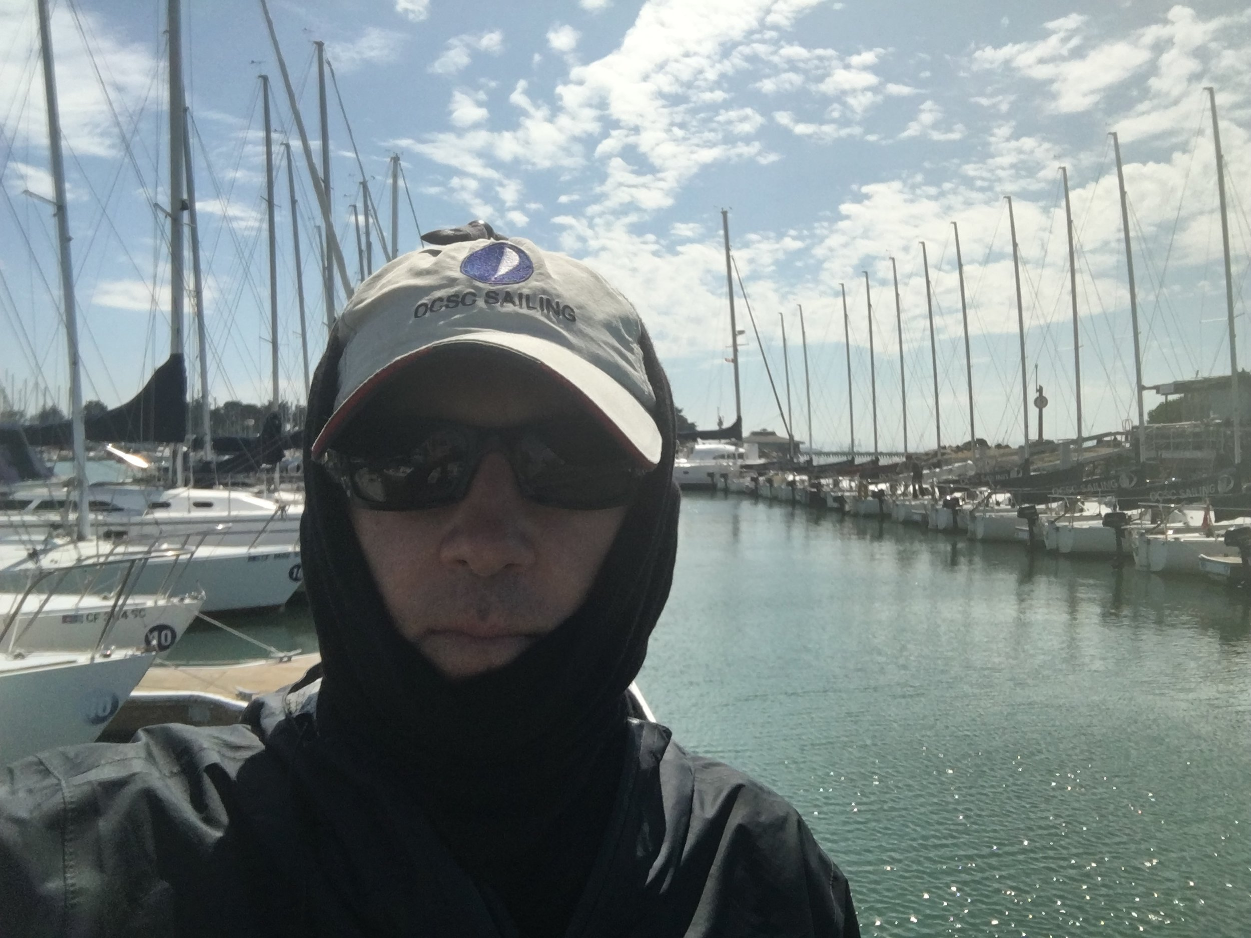 Bundled up for sun protection - spending 5 or 6 days on the water per week means I have to be careful!