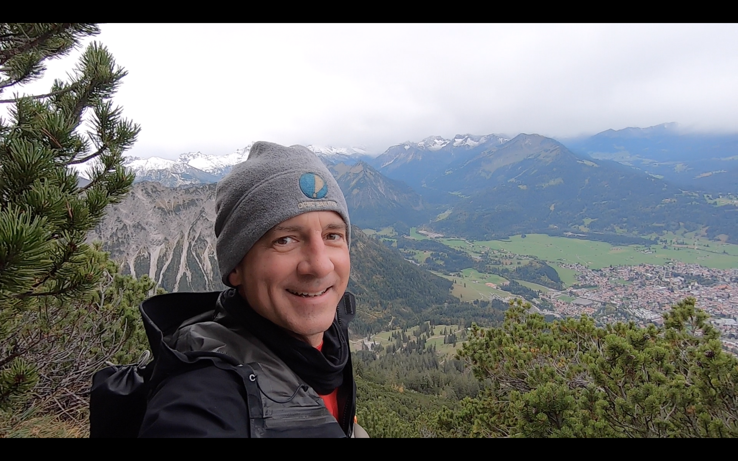 ON THE WAY UP TO RUBIHORN PEAK. THE TOWN OF OBERSTDORF IS IN THE DISTANCE.