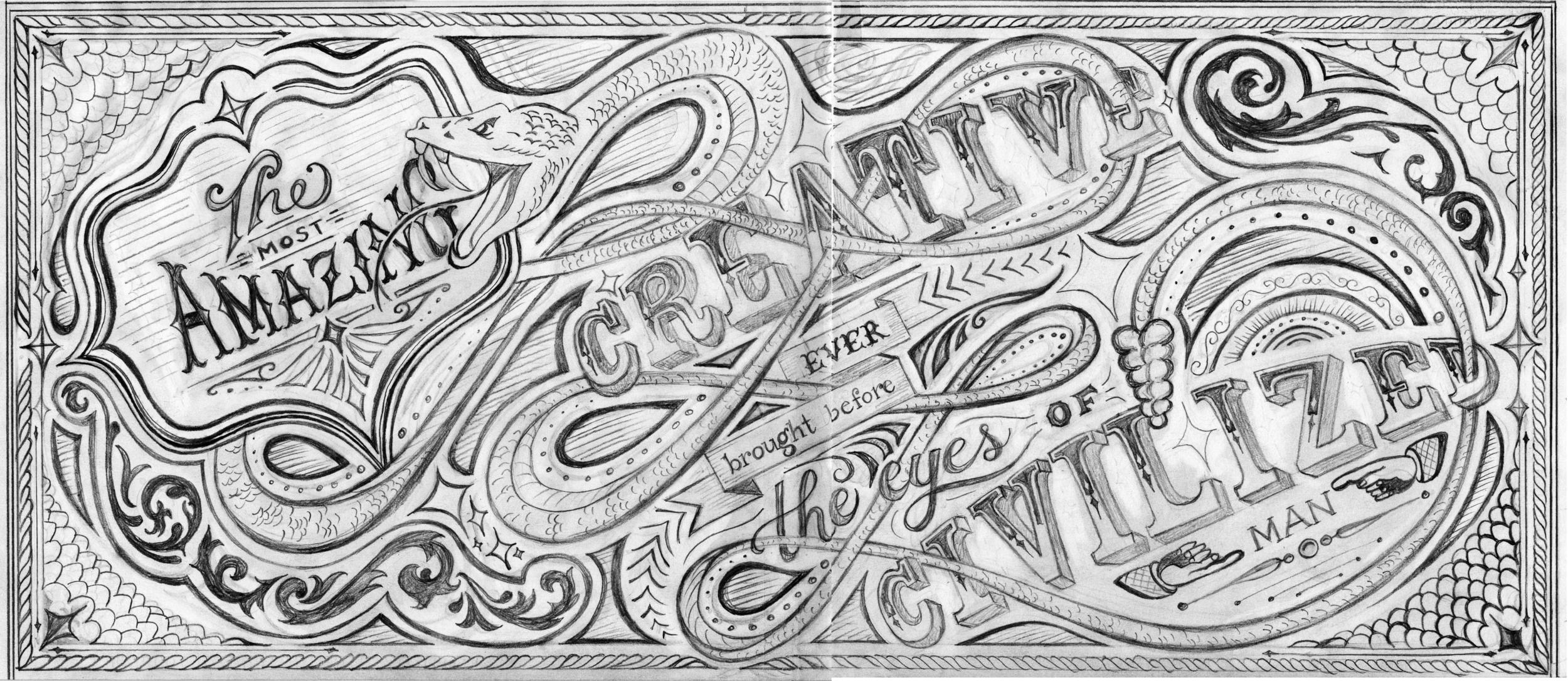 BEFORE:  Final hand drawing before the digital process began.