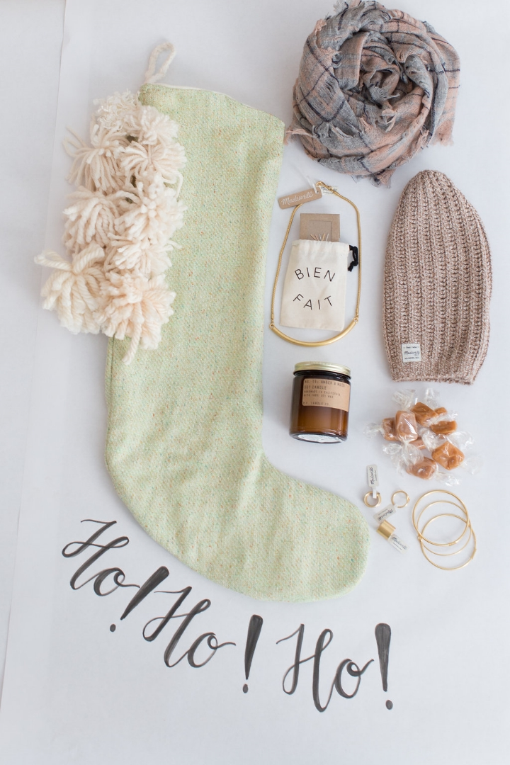 Styling by Mari Spiker, stocking by Tinsel, caramel by The Caramel Jar, and all accessories by Madewell.