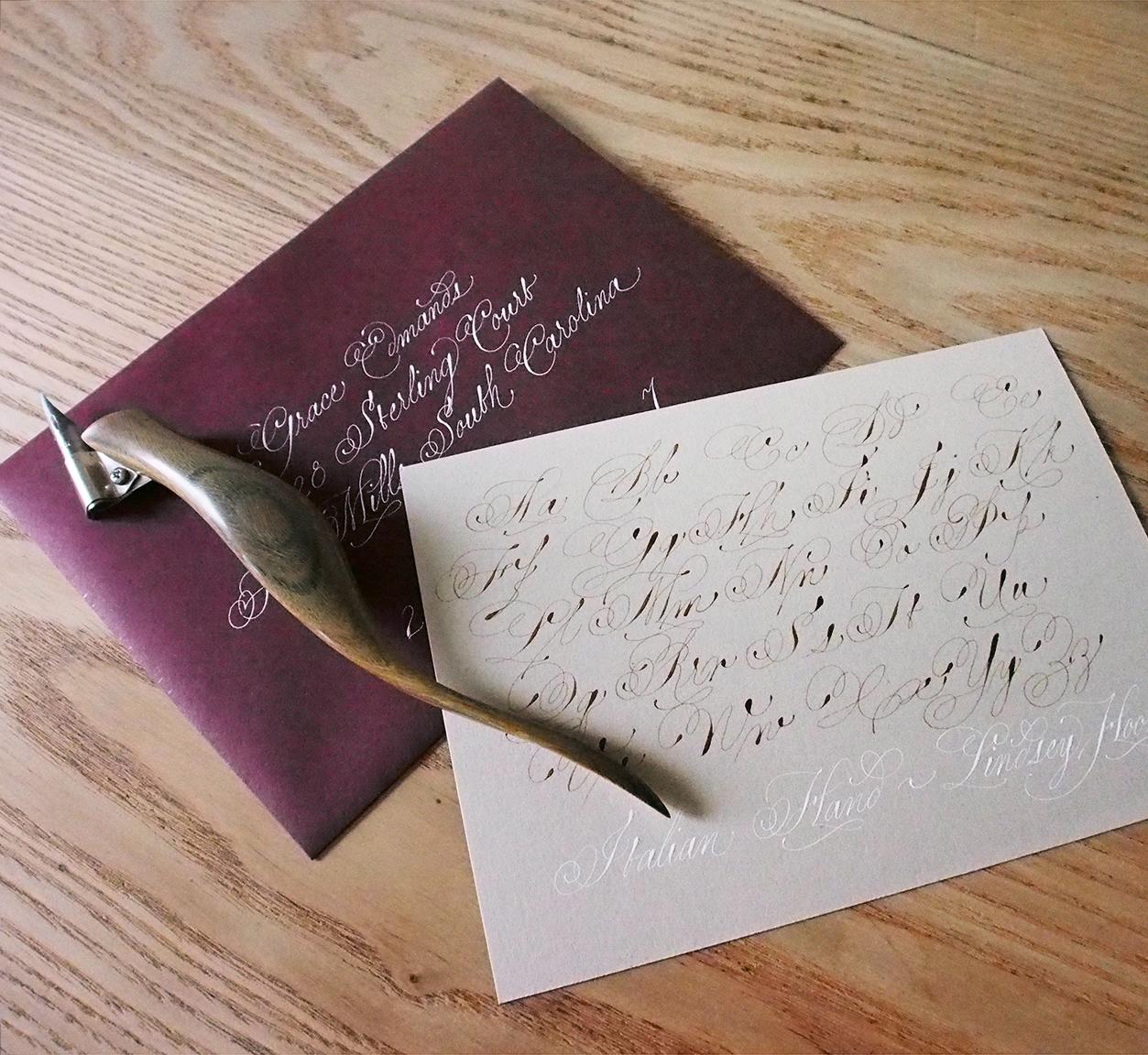Italian Hand - Bordeaux Envelope and Cement Exemplar Set