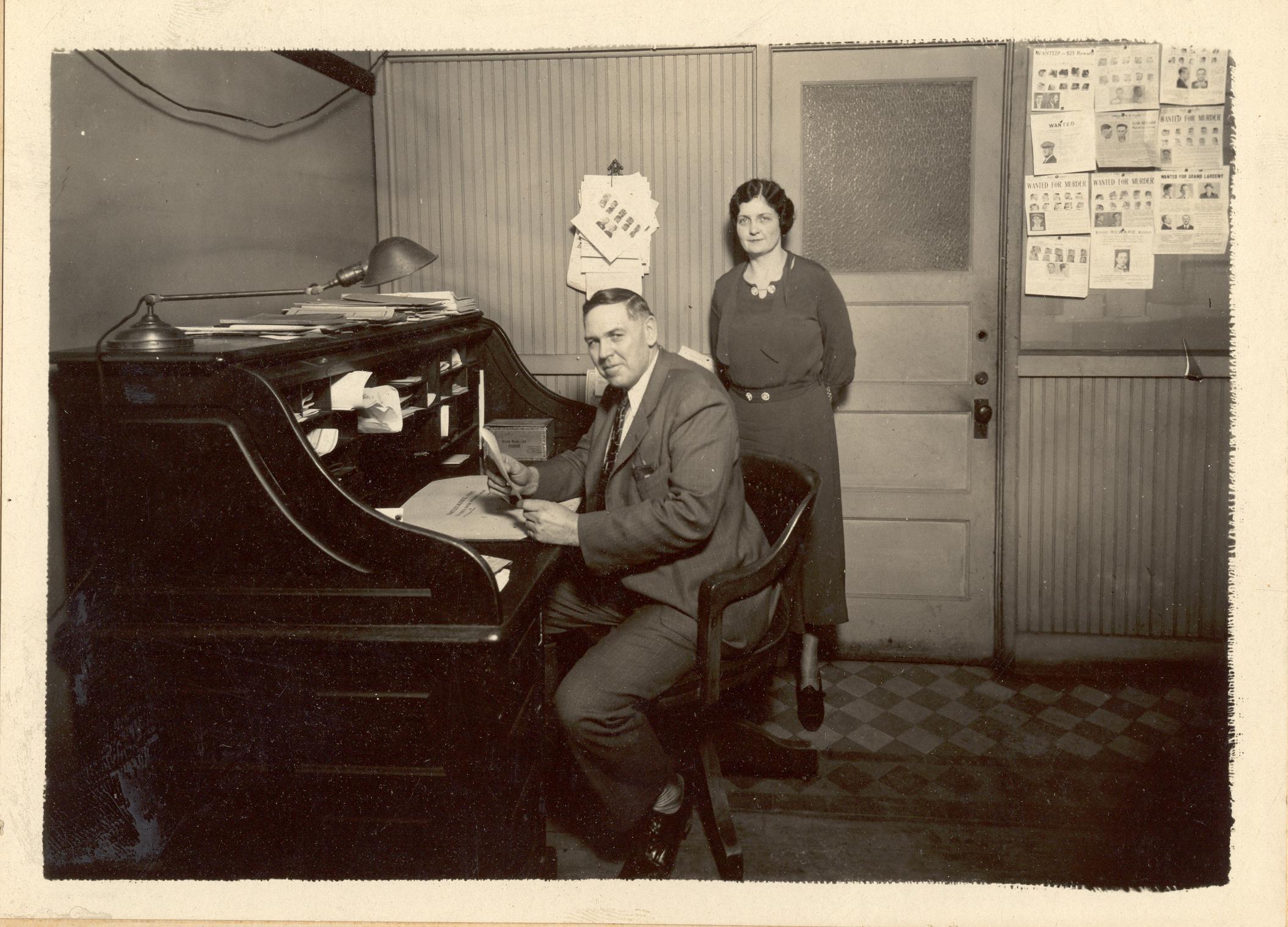 JF Hook in 1933 in the Oskaloosa sheriff's office