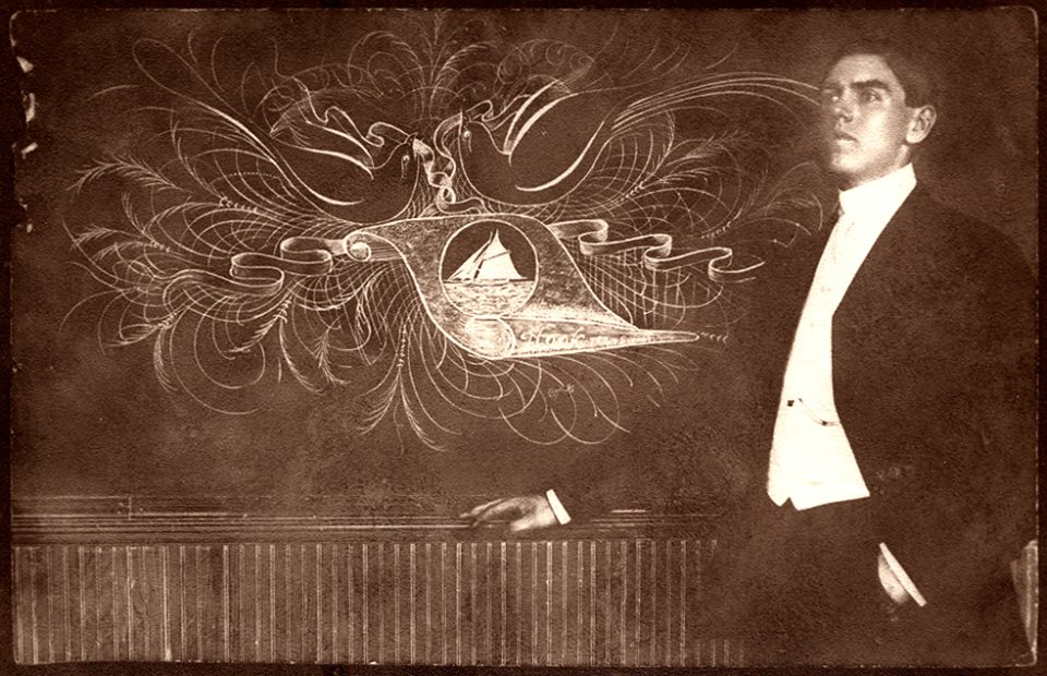 Undated portrait with a chalk board flourish
