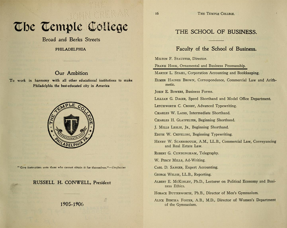 1905-06 Temple College Catalog Faculty Listing