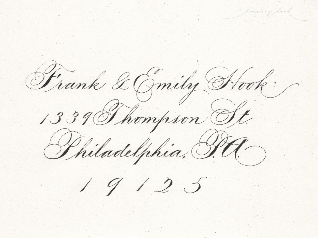 Ornamental/Shaded Spencerian Script Envelope