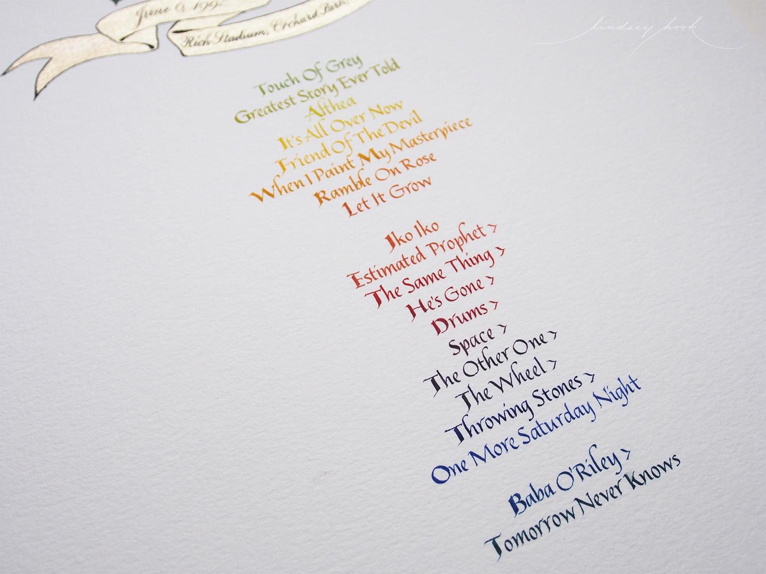 Grateful Dead Set List Text Detail