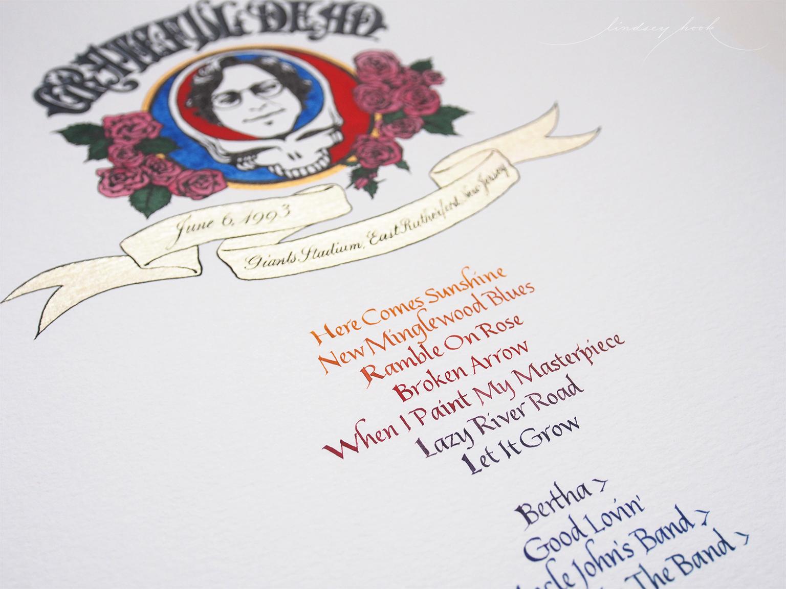 Grateful Dead Set List Header and Text Detail