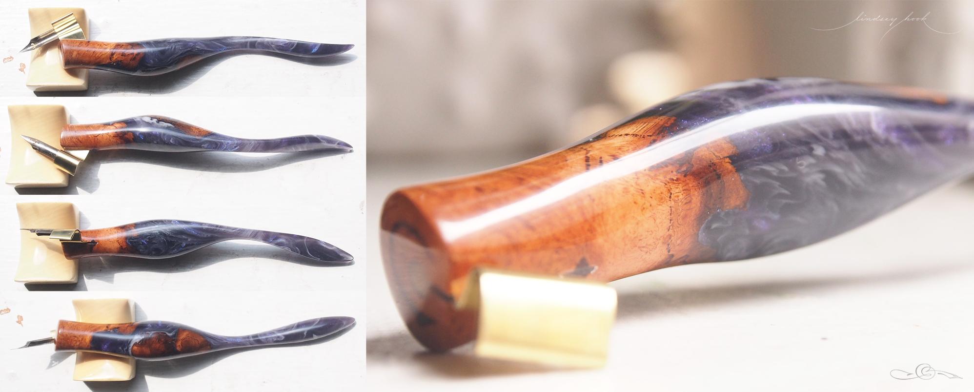 Burl and Purple Iridescent/White Swirl Hybrid