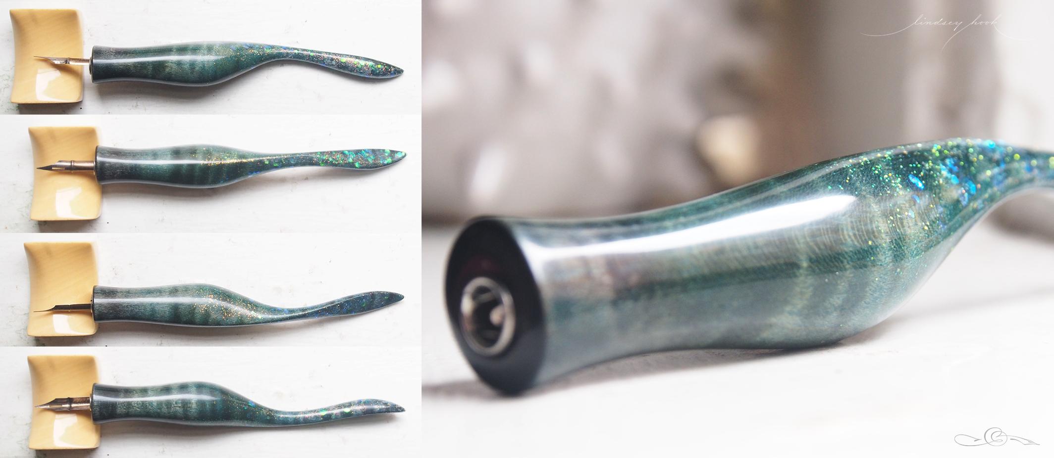 Flamed Maple Peacock Dye w/ 'Siren's Delight' and 'Fake Plastic Dream' Glitter Lefty