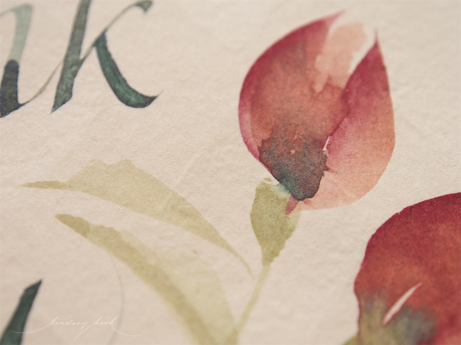 Hand painted thank you card (detail)
