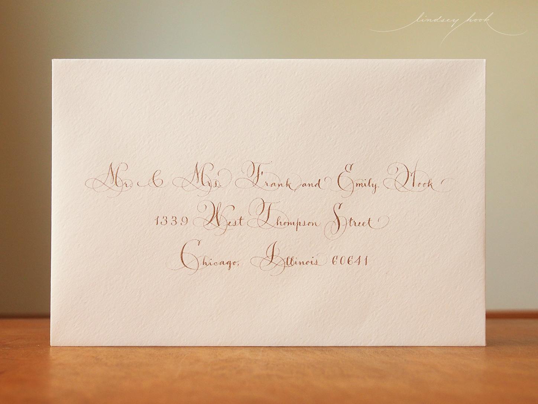 Vertical Ornamental Script Envelope