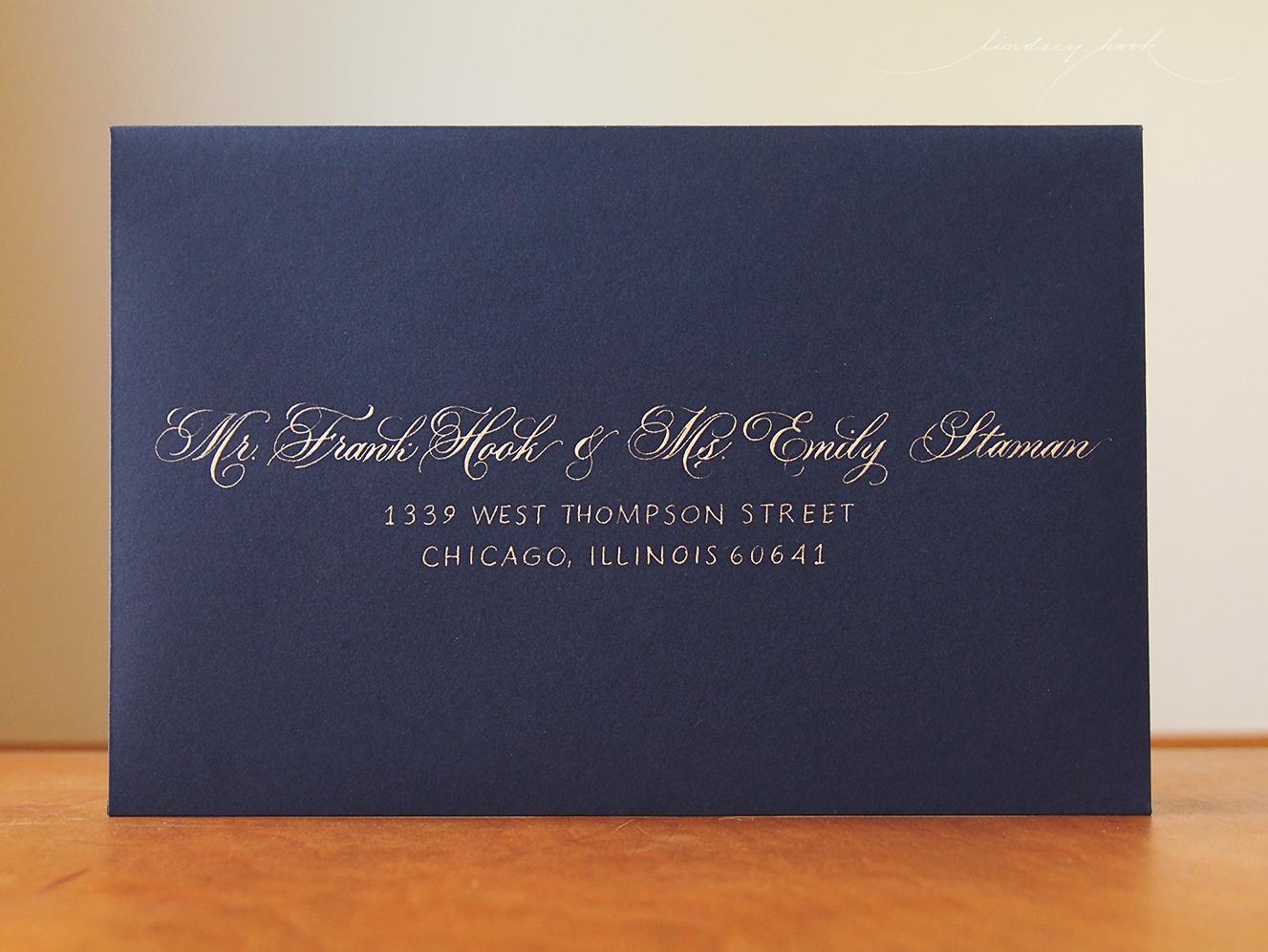 Flourished Parfumerie and Block Caps Envelope
