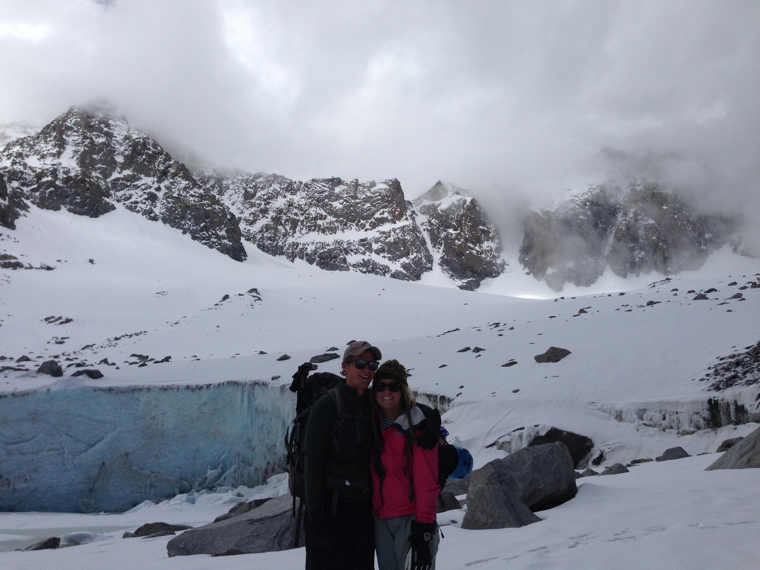 bran and bnna at base of glacier