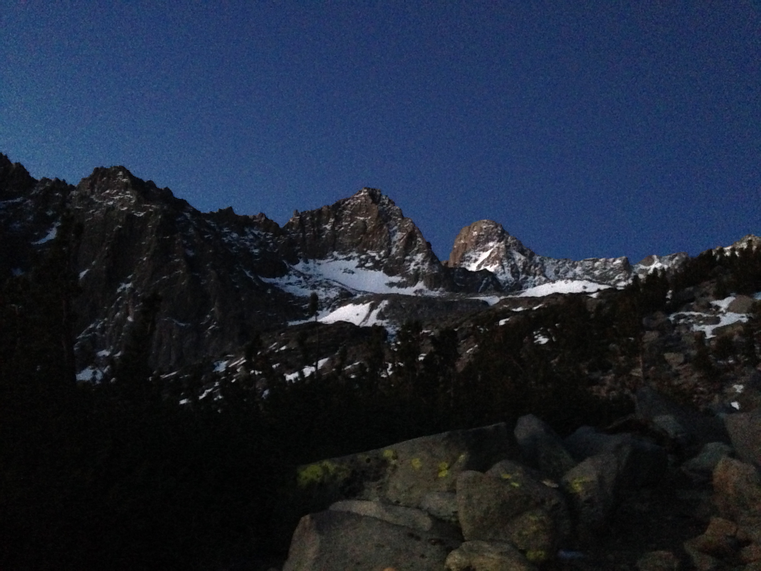 mt sill visible in the upper right of the image. the swiss arete is the left hand skyline.