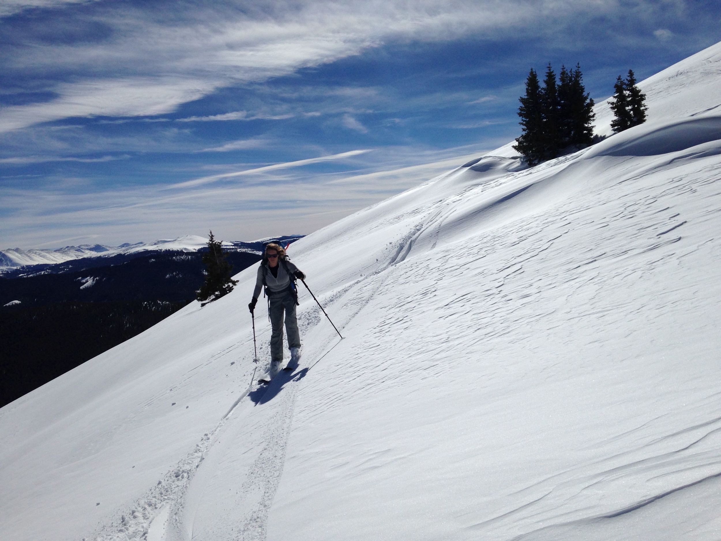 skiing on shaky legs with a heavy pack