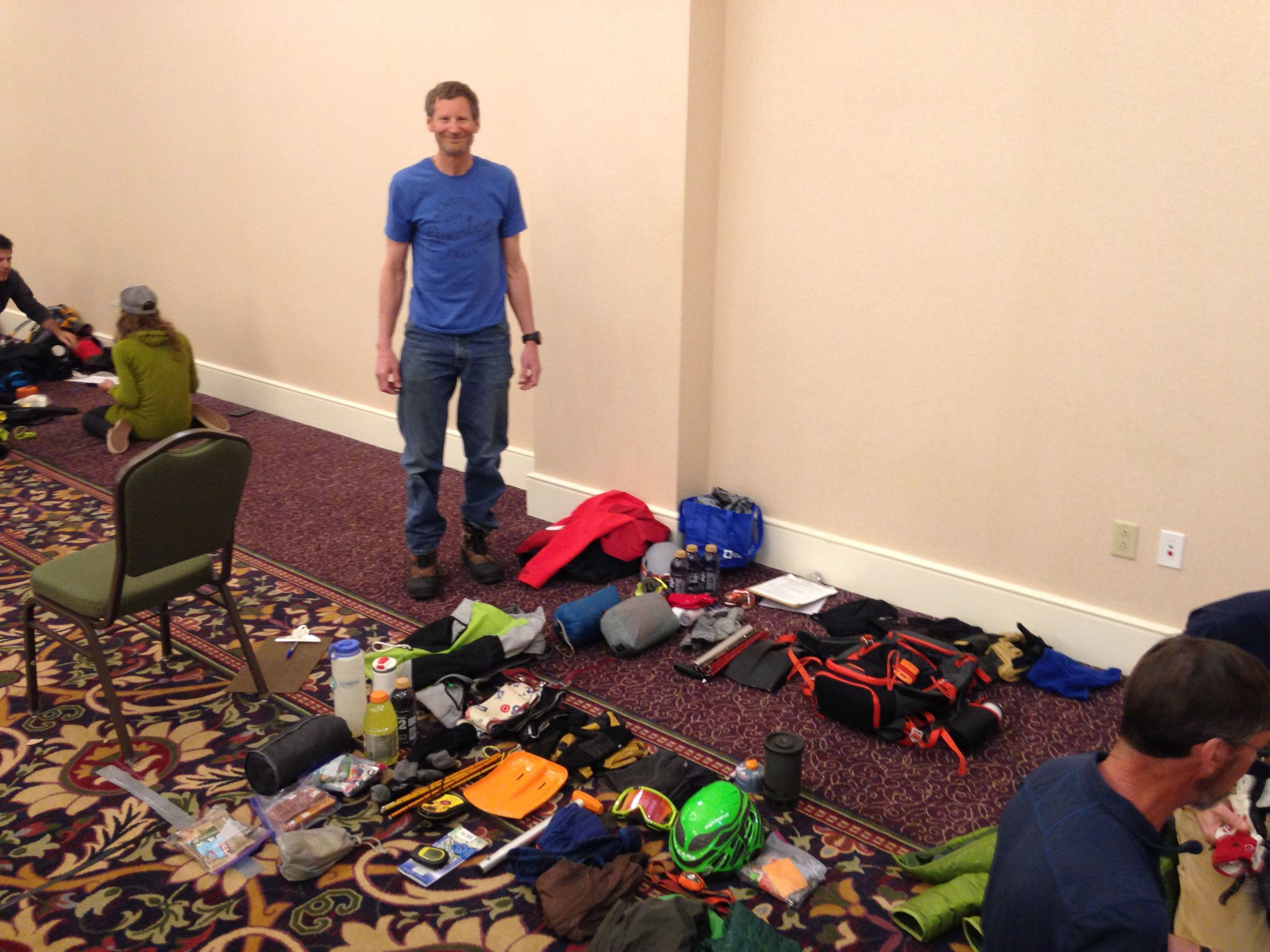 at the pre-race gear check. because of the difficult nature of the race, we were required to carry specific gear to survive up to 24 hours marooned at extreme temperature and altitude.
