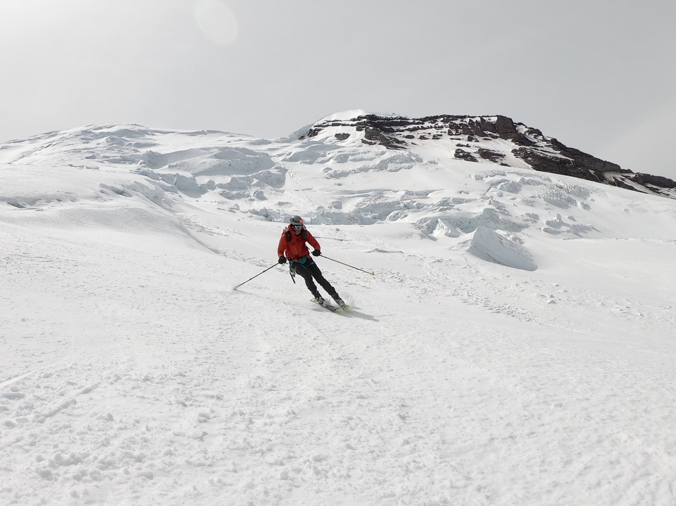 dad skis some corn on the lower emmons glacier
